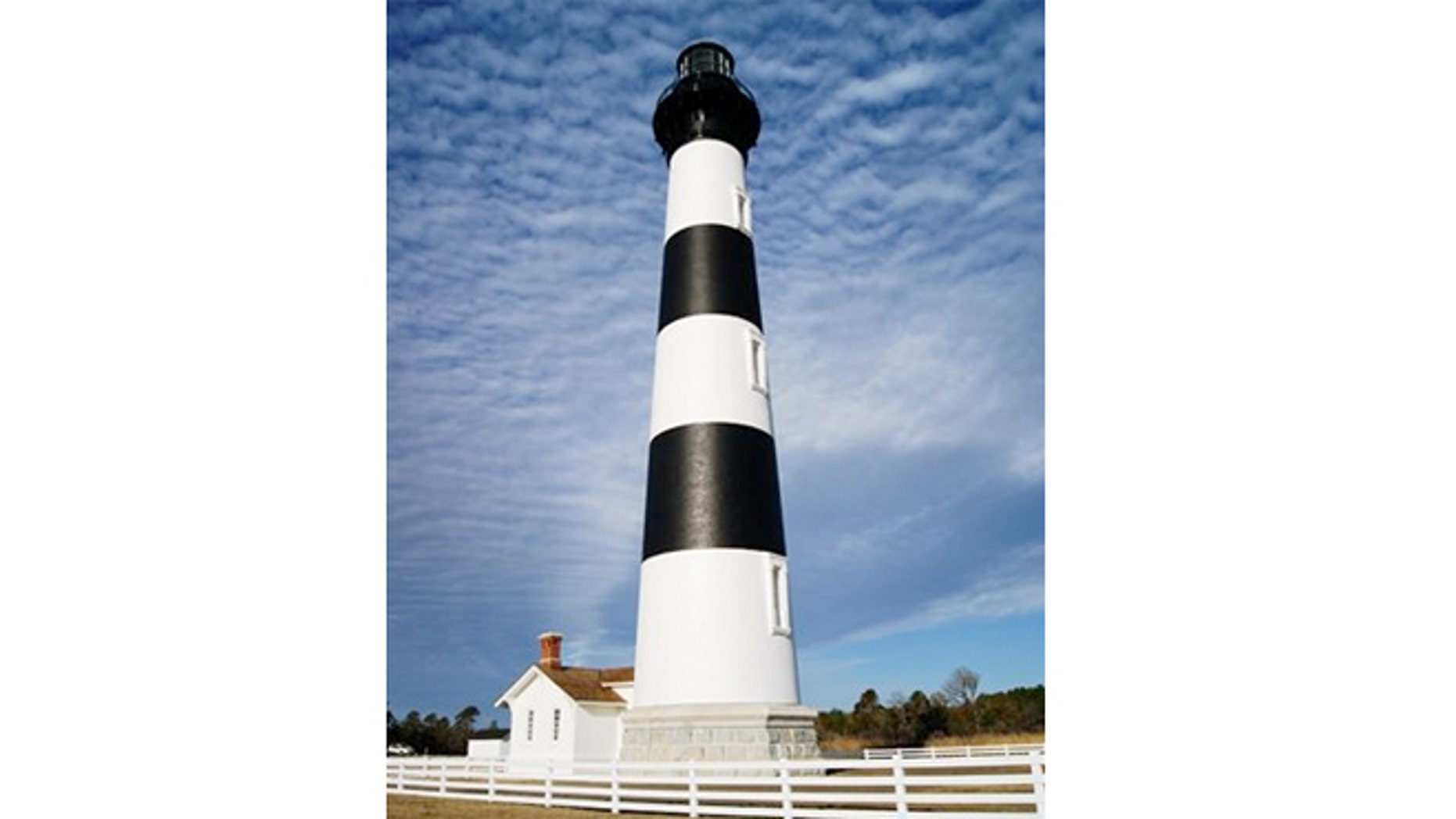 The newly restored Bodie Island Lighthouse near Nags Head in North Carolina.