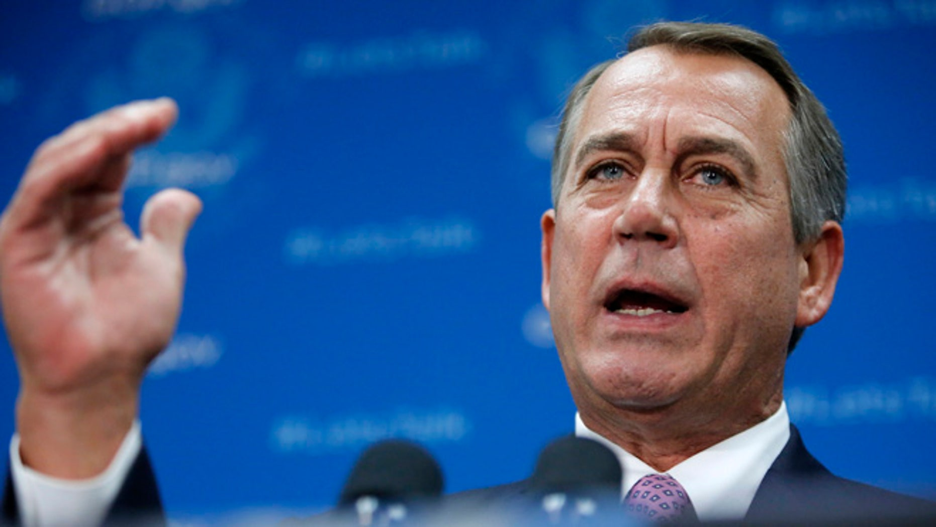 """Oct. 4, 2013: U.S. House Speaker John Boehner (R-OH) addresses reporters during a news conference with fellow House Republicans at the U.S. Capitol in Washington. Boehner on Friday said the House will not vote on a """"clean"""" spending bill without conditions to end the government shutdown, and demanded spending cuts in exchange for raising the government's borrowing limit."""