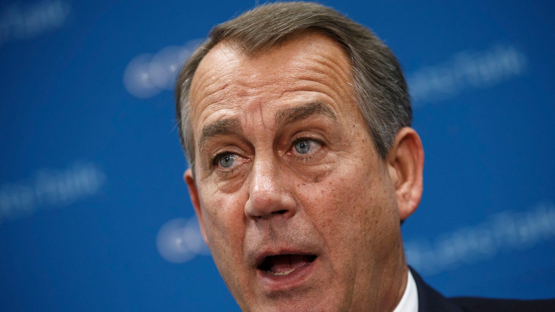 Oct. 8, 2013: House Speaker John Boehner speaks during a news conference on Capitol Hill in Washington.