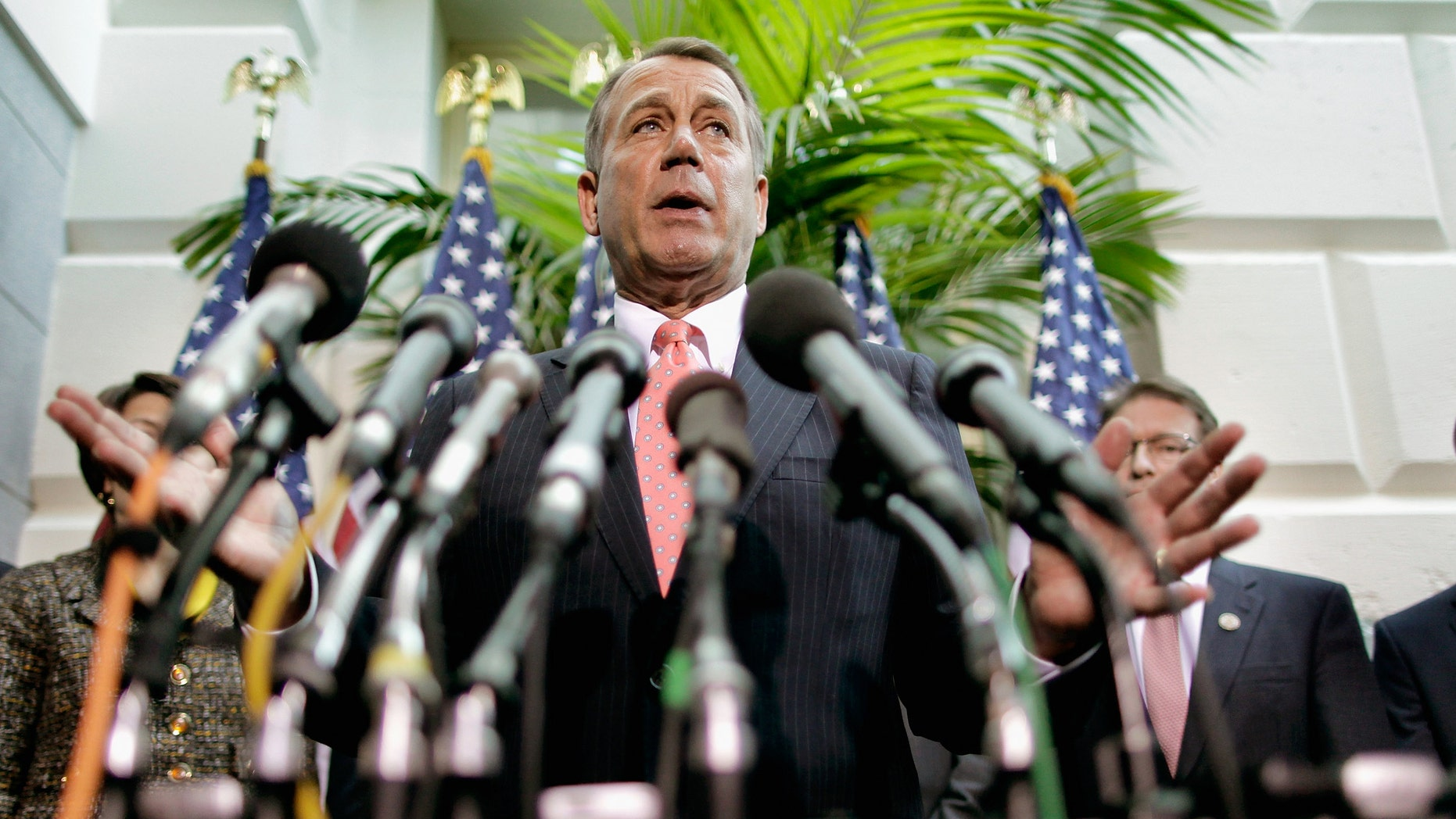 Speaker of the House John Boehner (R-OH) (C) is joined by other members of the House GOP leadership.