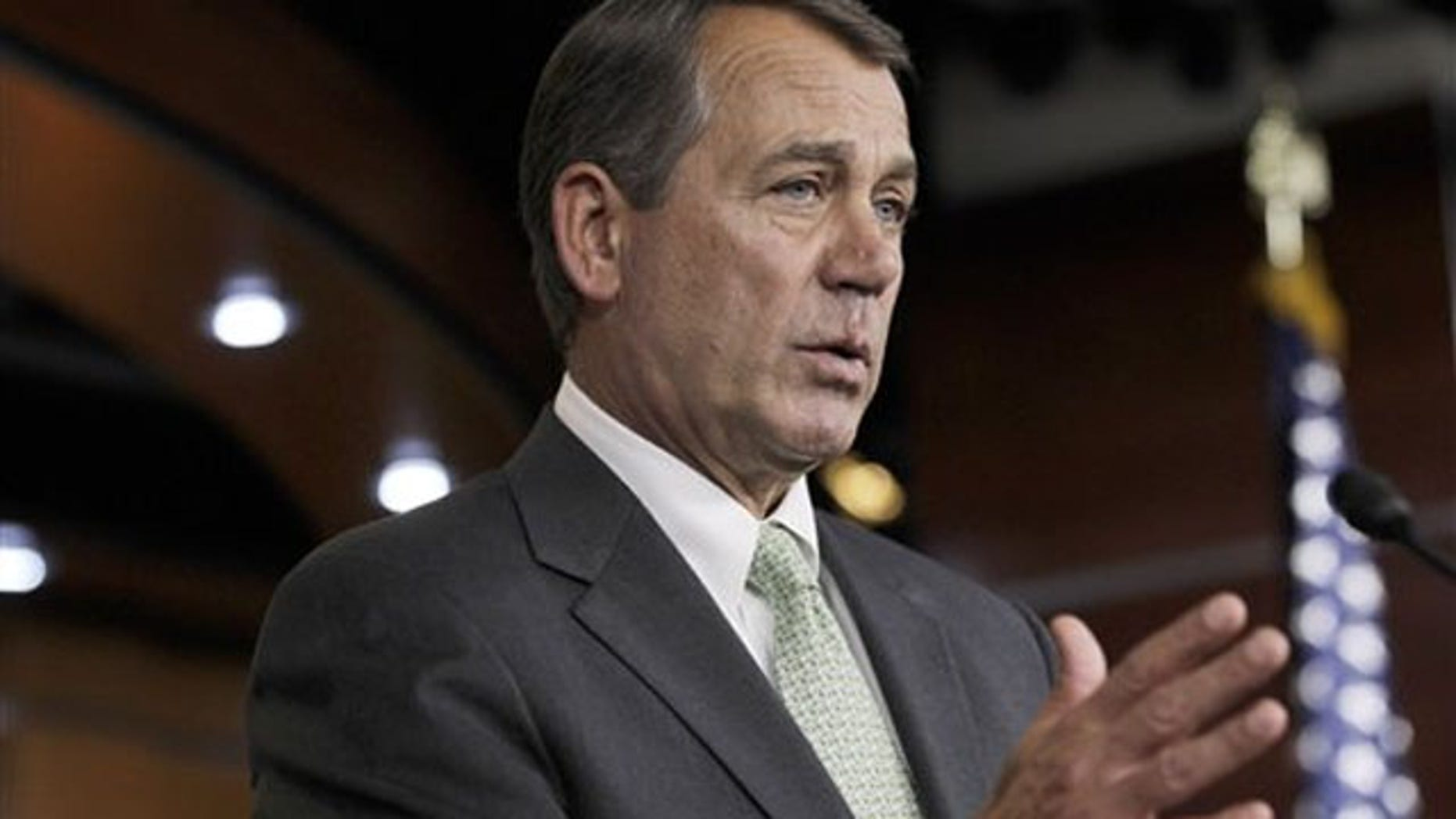 House Speaker John Boehner gestures during a news conference on Capitol Hill in Washington Jan. 26.
