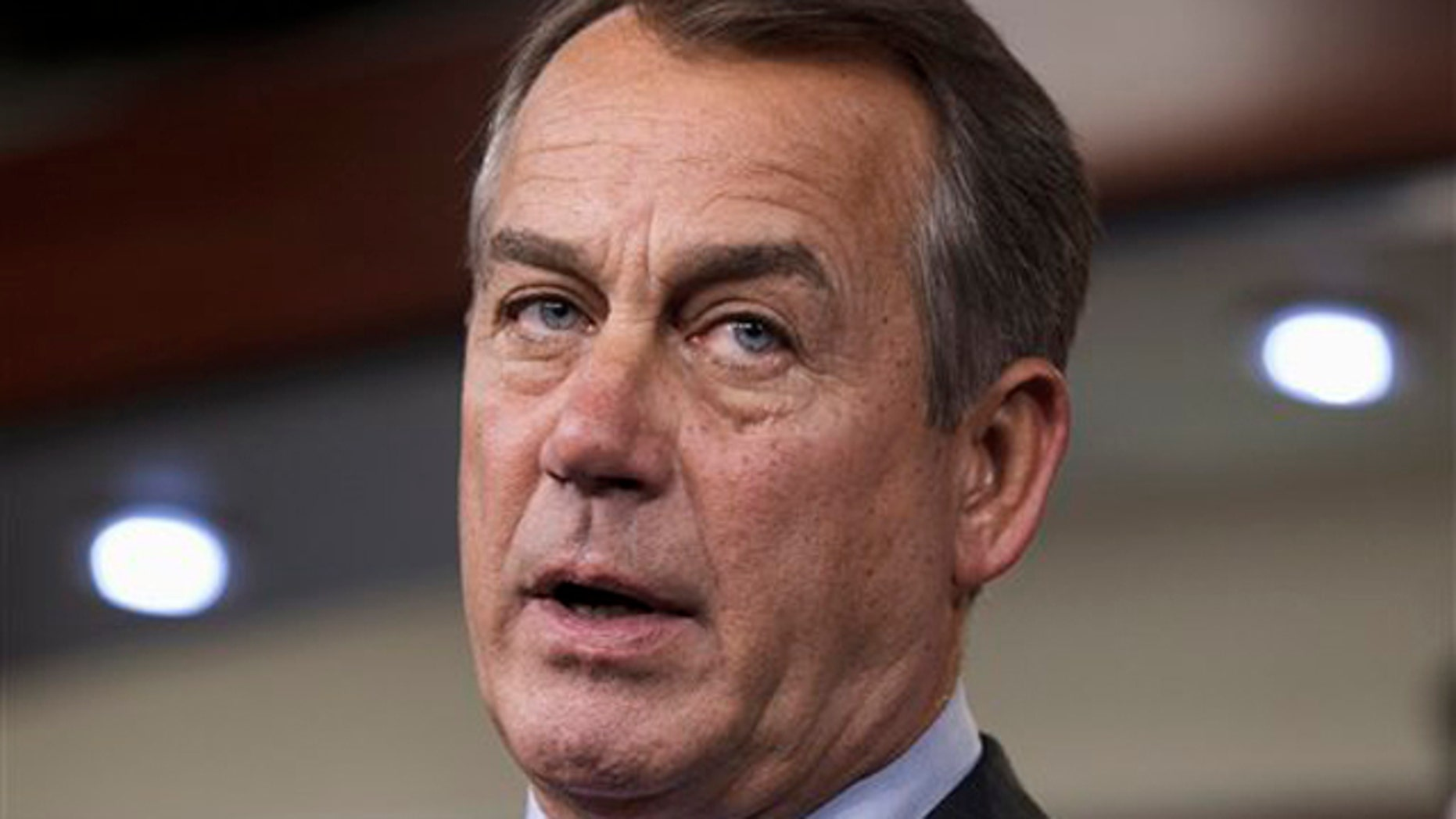 Feb. 16, 2012: House Speaker John Boehner talks about the payroll tax cut negotiations during a news conference on Capitol Hill.