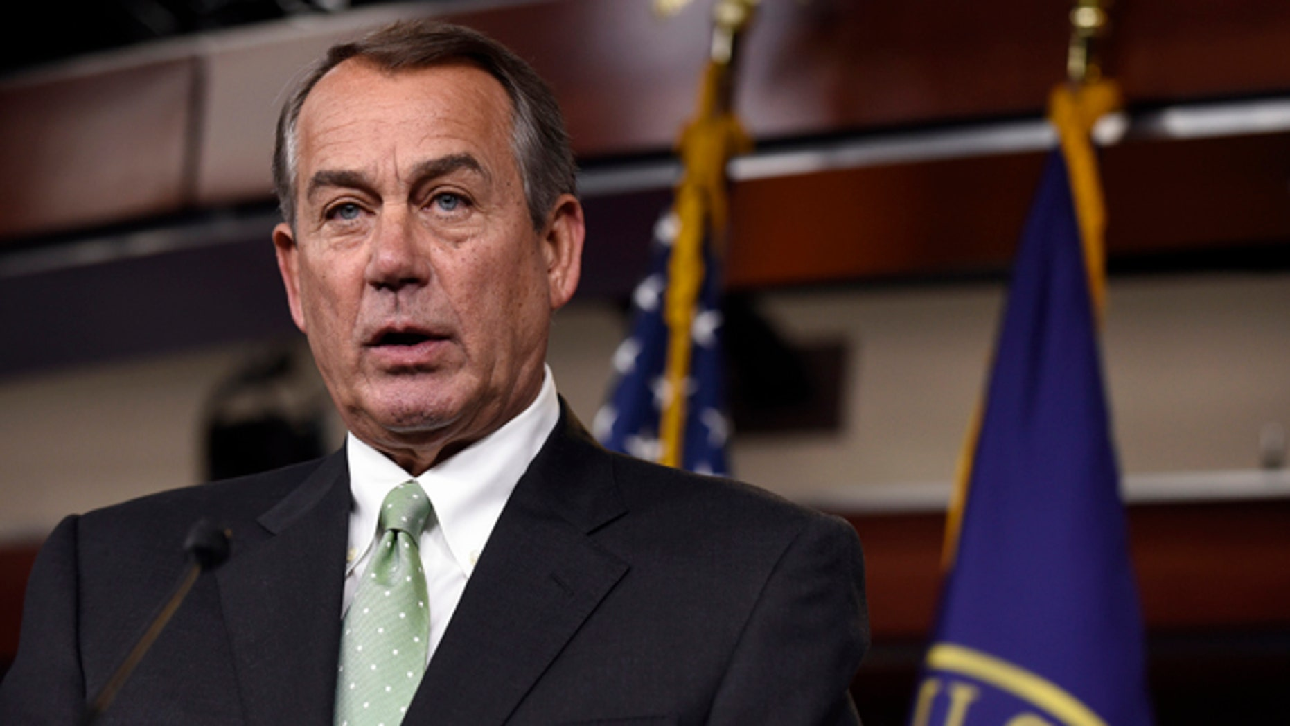 May 21, 2015: House Speaker John Boehner speaks during a news conference on Capitol Hill.