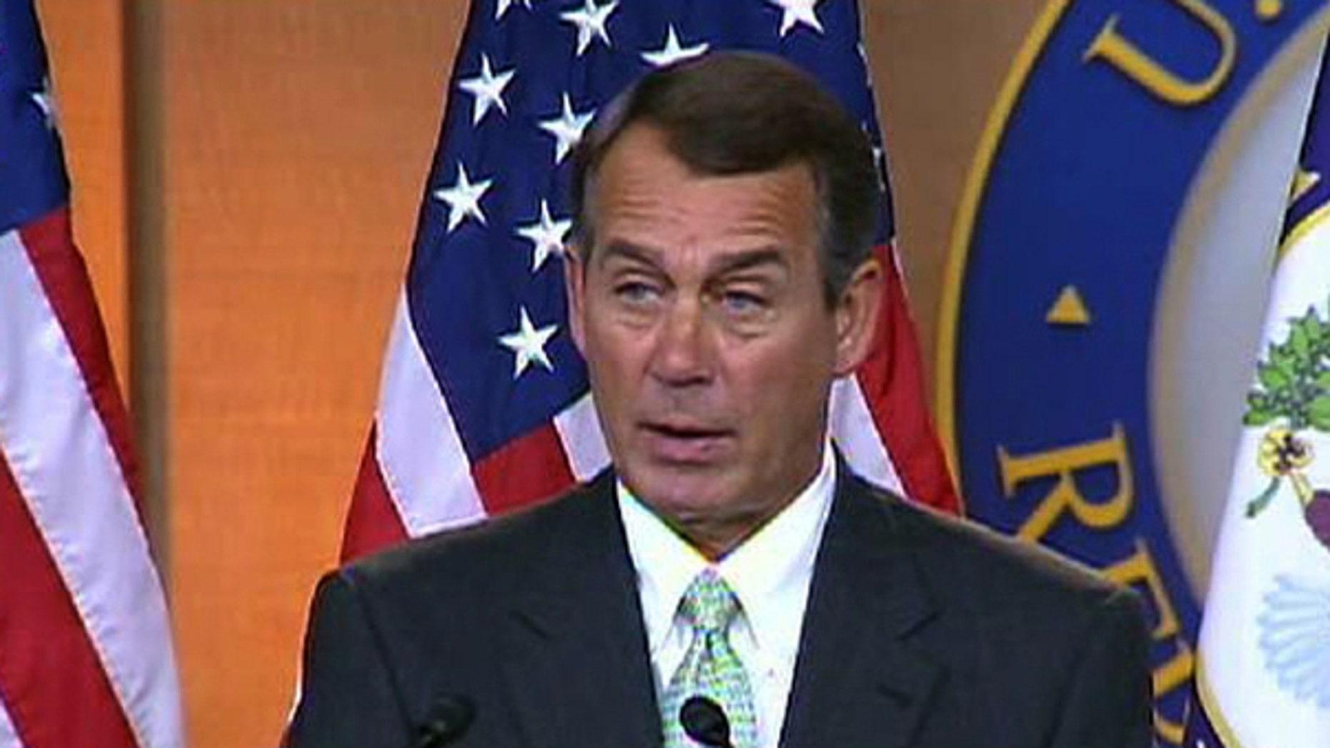 House Minority Leader John Boehner criticizes Democrats' economic proposals at a news conference, Friday, Dec. 4, 2009. (FNC)