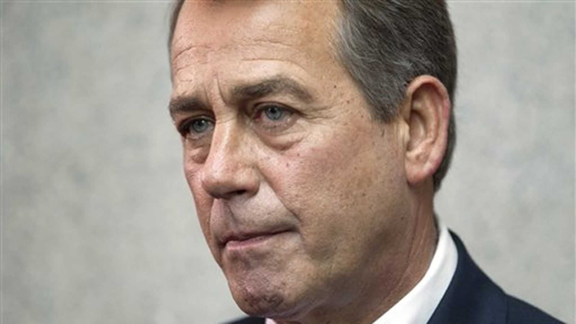 House Speaker John Boehner pauses during a news conference on Capitol Hill April 15.