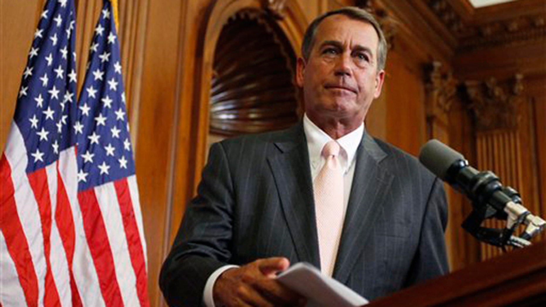 In this June 16 photo, House Minority Leader John Boehner participates in a ceremony on Capitol Hill in Washington. (AP Photo)