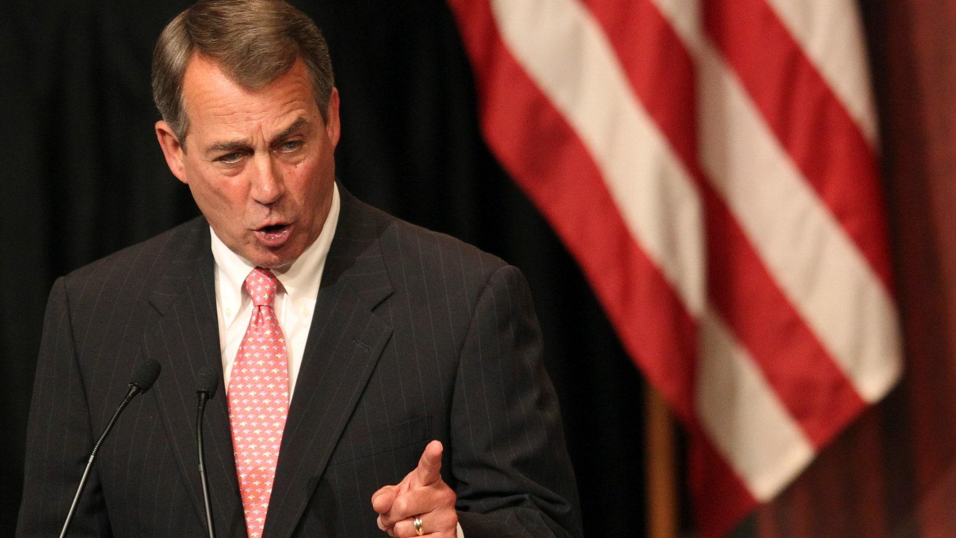 Monday: House Speaker John Boehner gestures as he addresses the Economic Club of New York in New York.