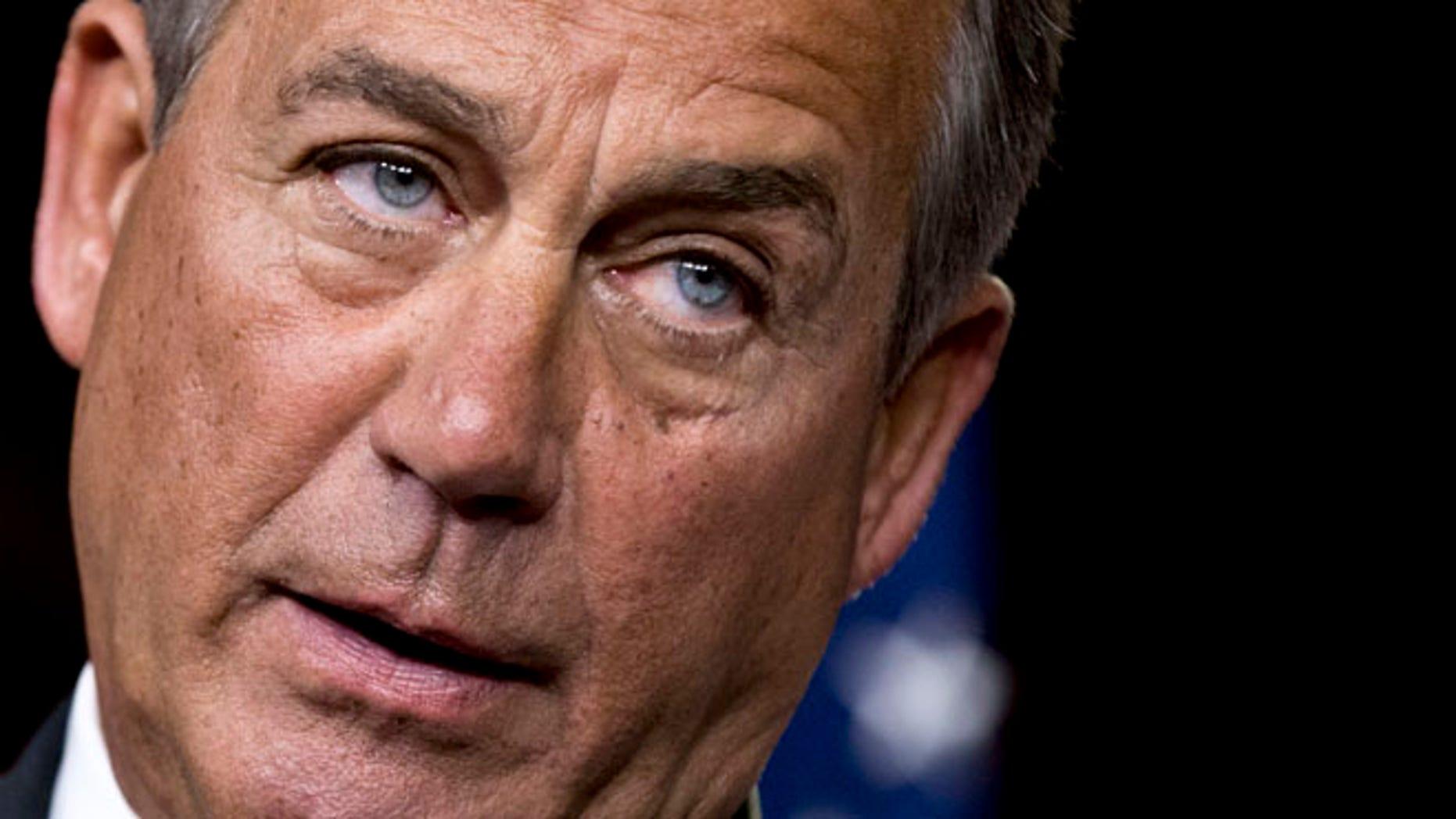 Nov. 29, 2012: House Speaker John Boehner speaks to reporters on Capitol Hill in Washington.