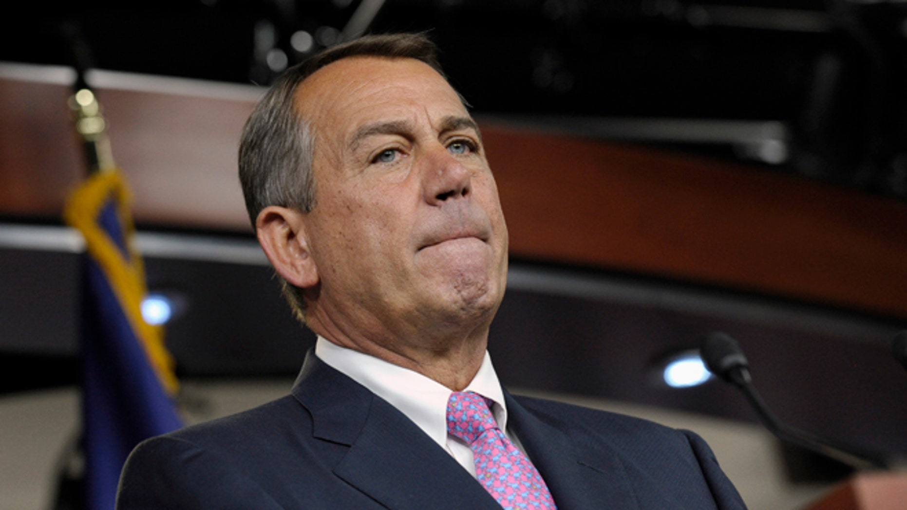 June 27, 2013: House Speaker John Boehner pauses during a news conference on Capitol Hill in Washington.