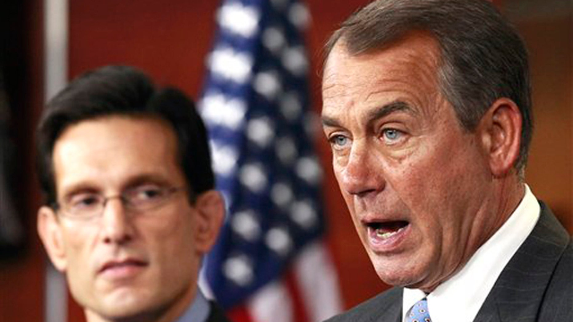 Jan. 6: House Speaker John Boehner, right, accompanied by House Majority Leader Eric Cantor, speaks to the media on Capitol Hill.