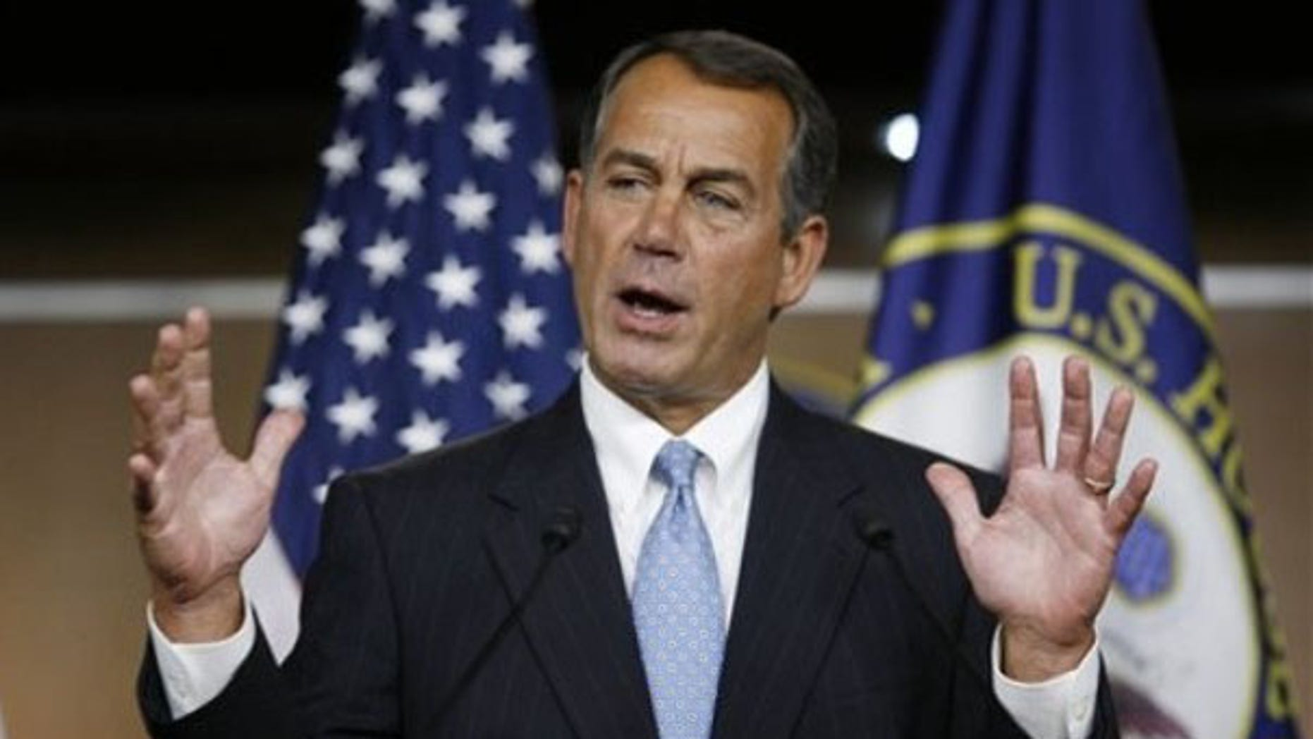 Jan. 21: House Minority Leader John Boehner speaks during a news conference on Capitol Hill. (AP Photo)