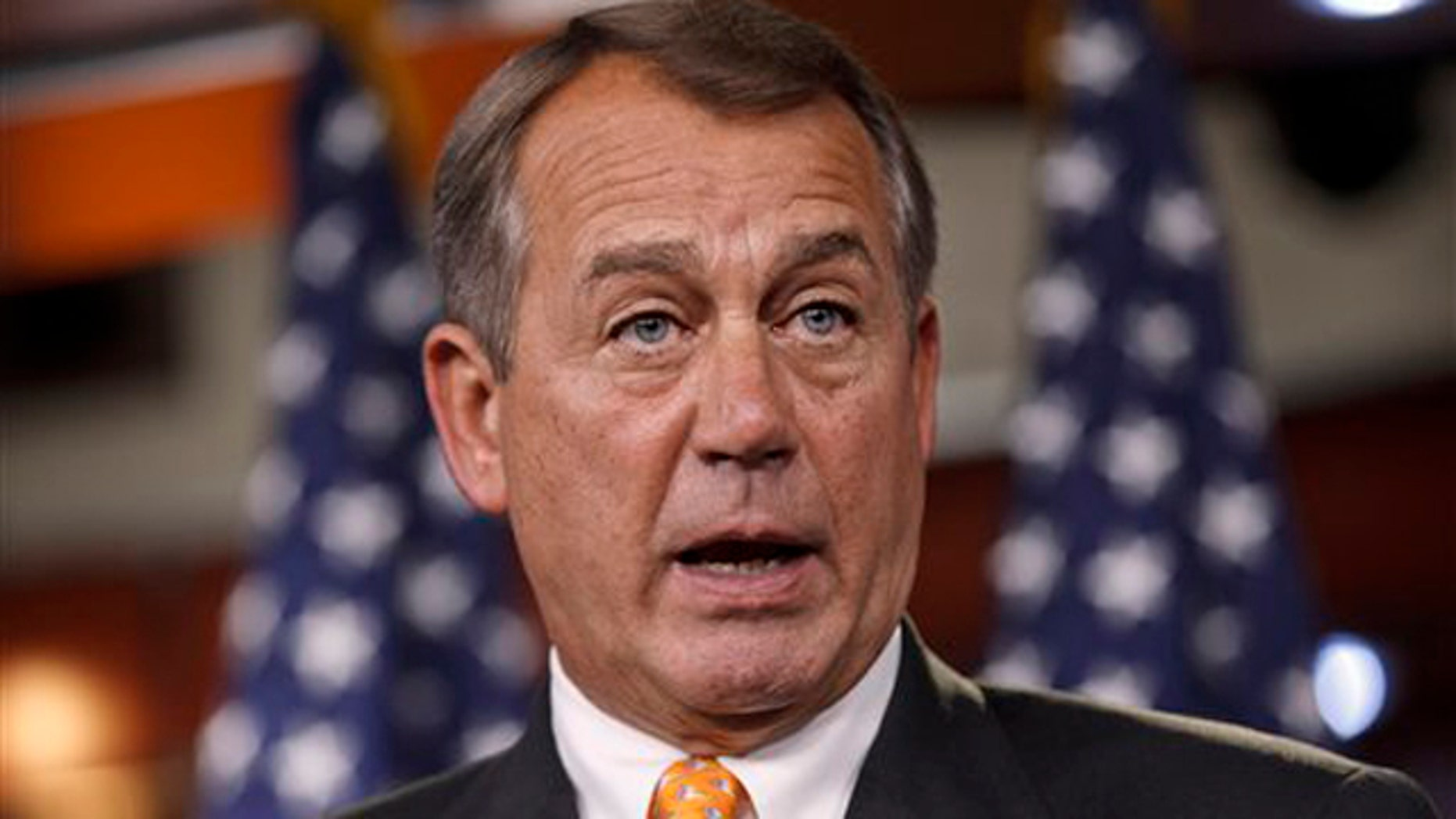 March 22, 2012: House Speaker John Boehner speaks during a news conference on Capitol Hill in Washington.