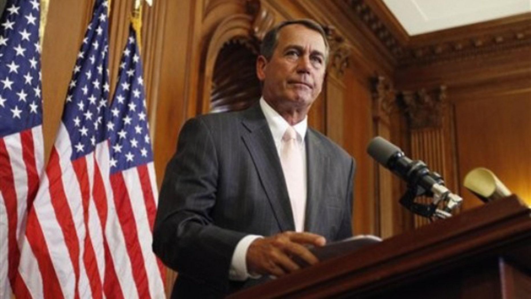 House Republican Leader John Boehner speaks June 16 on Capitol Hill in Washington. (AP Photo)