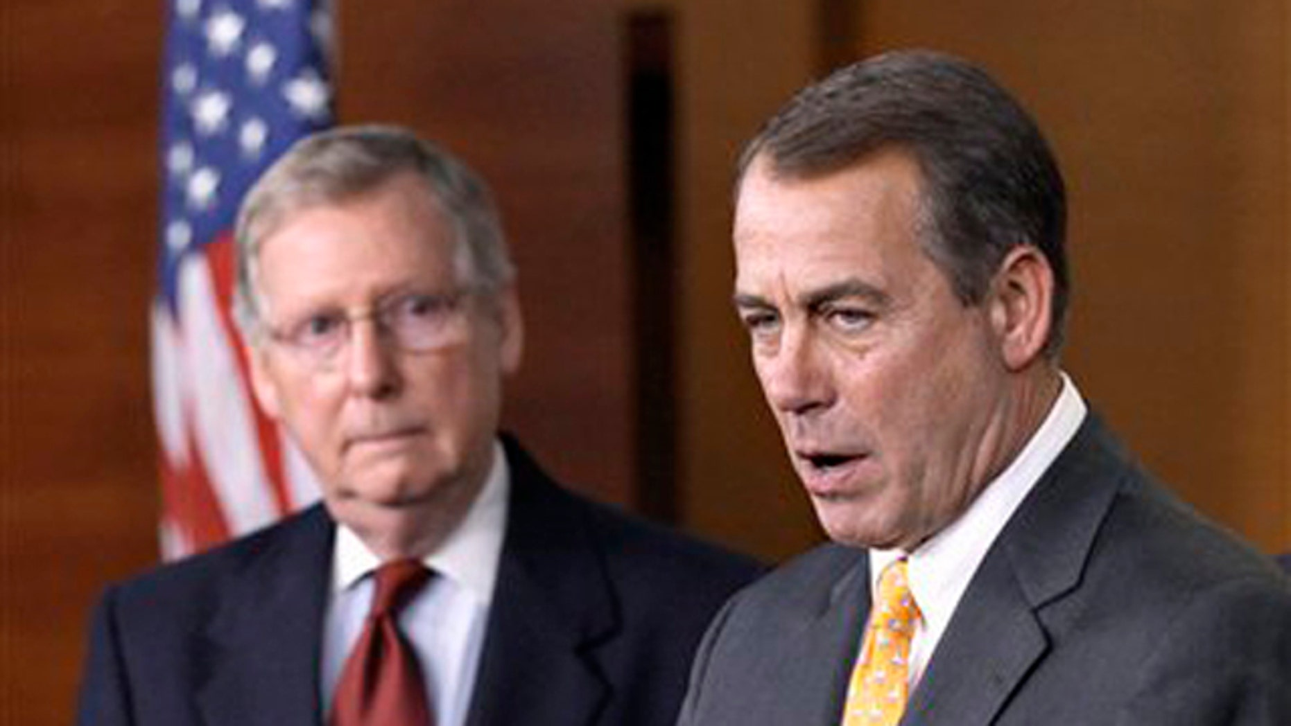 In this Nov. 3 file photo, House Republican Leader John Boehner, right, speaks alongside Republican Senate Leader Mitch McConnell on Capitol Hill in Washington. (AP Photo)