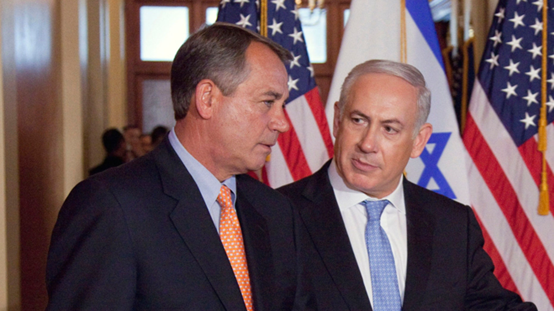 This May 24, 2011 file photo shows Israeli Prime Minister Benjamin Netanyahu with House Speaker John Boehner on Capitol Hill in Washington.