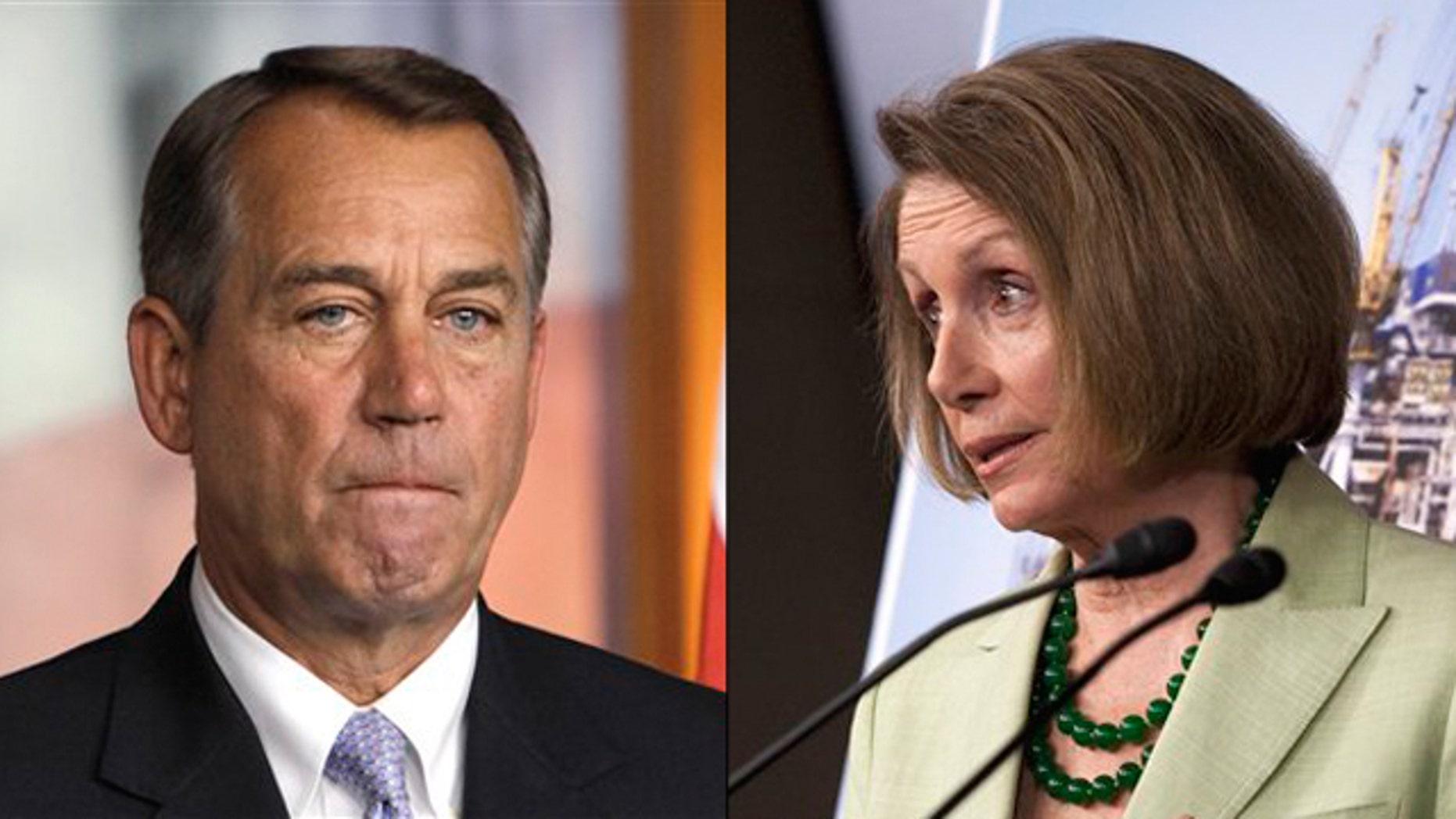 Shown here are House Speaker John Boehner, left, and House Minority Leader Nancy Pelosi.