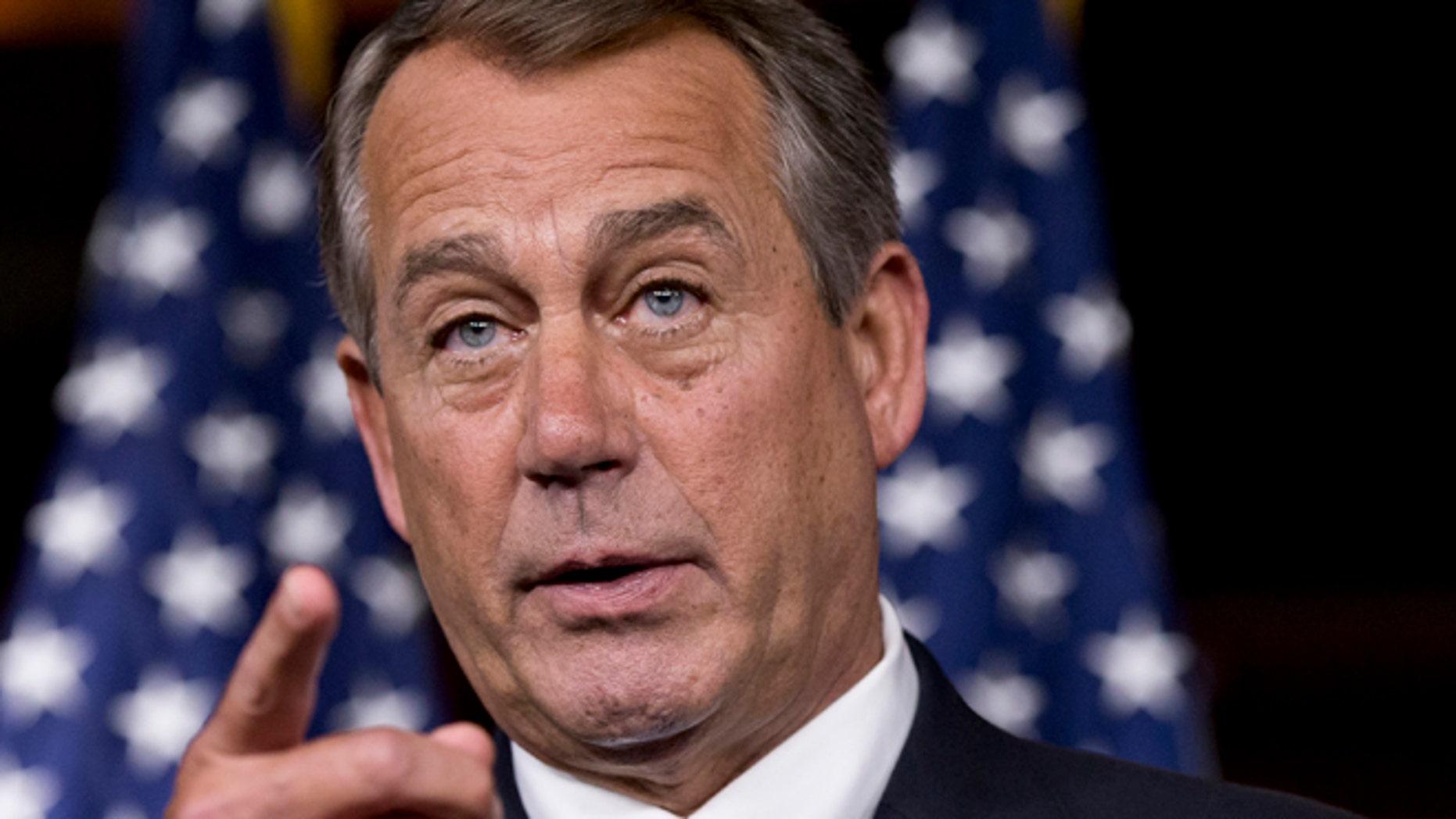 June 20, 2013: House Speaker John Boehner speaks on Capitol Hill.