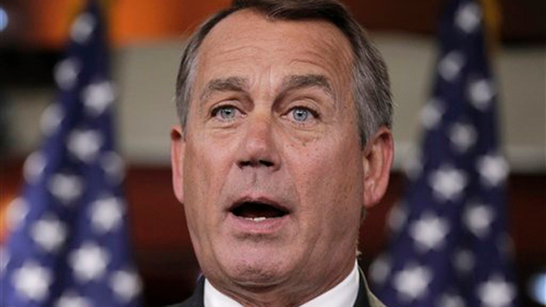 Dec. 2, 2011: House Speaker John Boehner meets with reporters on Capitol Hill in Washington.