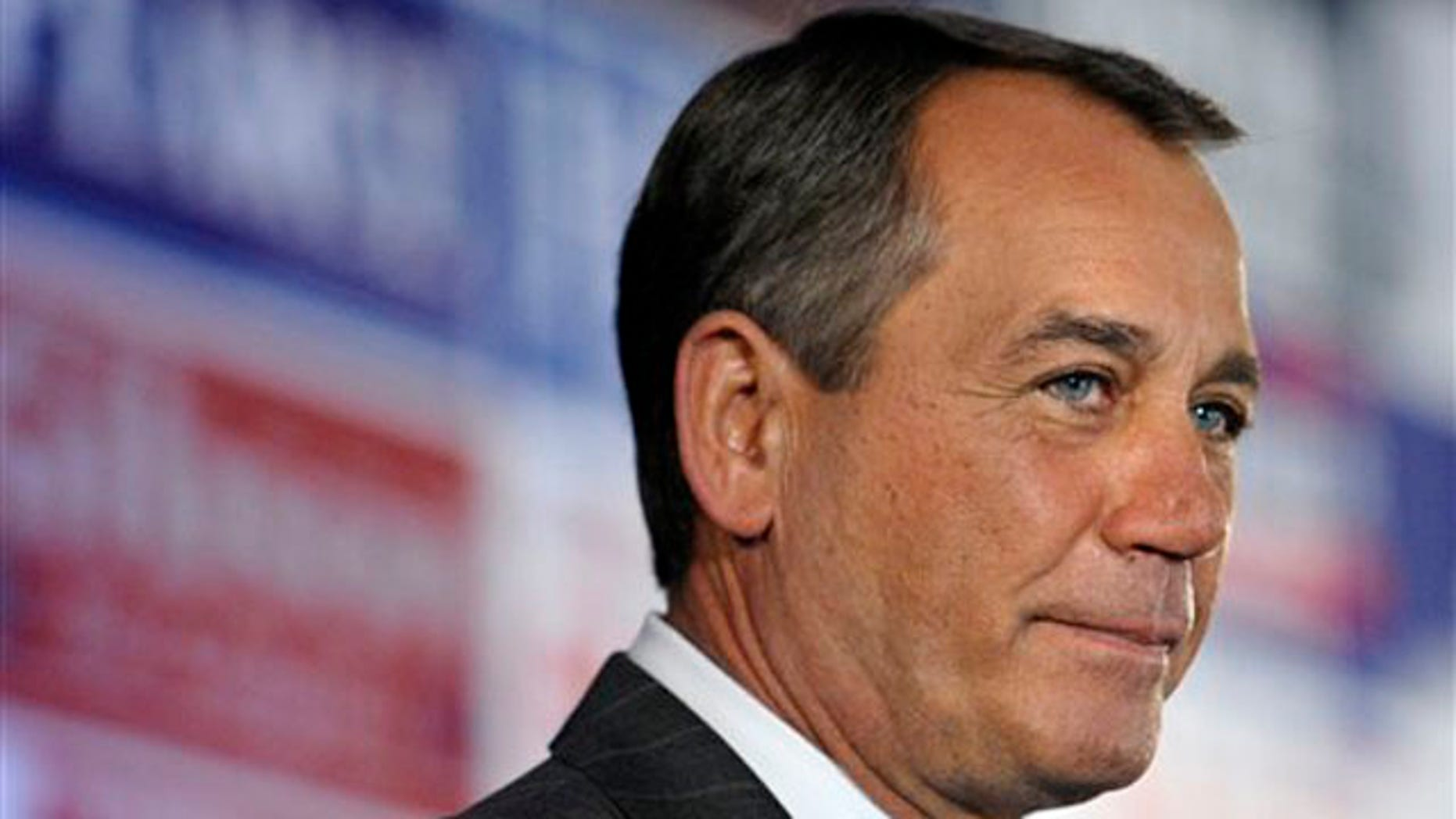 House Republican Leader John Boehner speaks at a party hosted by the National Republican Congressional Committee at the Grand Hyatt hotel in Washington Nov. 2. (AP Photo)