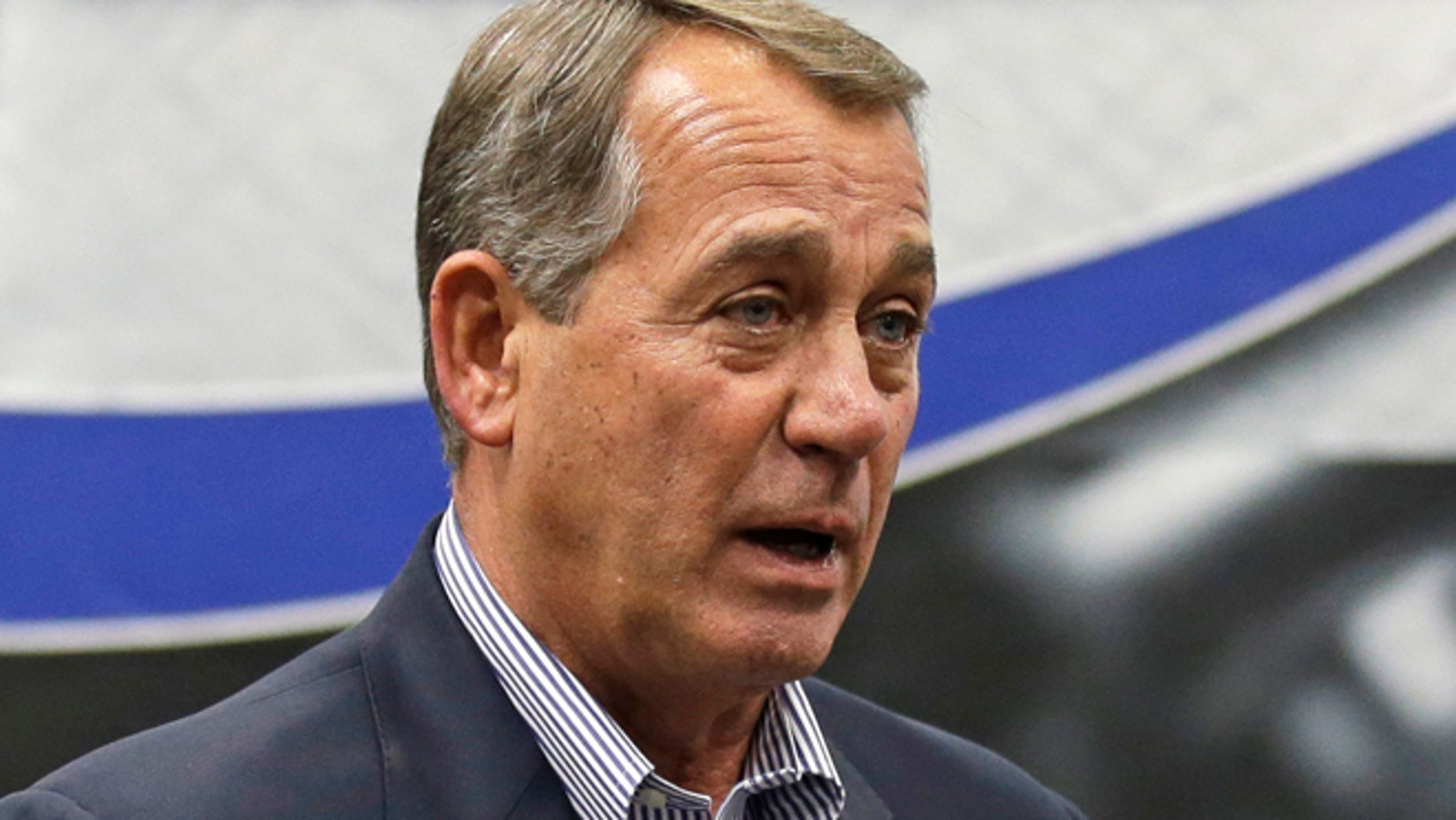 May 5, 2014: House Speaker John Boehner speaking to employees during a tour of the Machintek Corp. plant in Fairfield, Ohio.