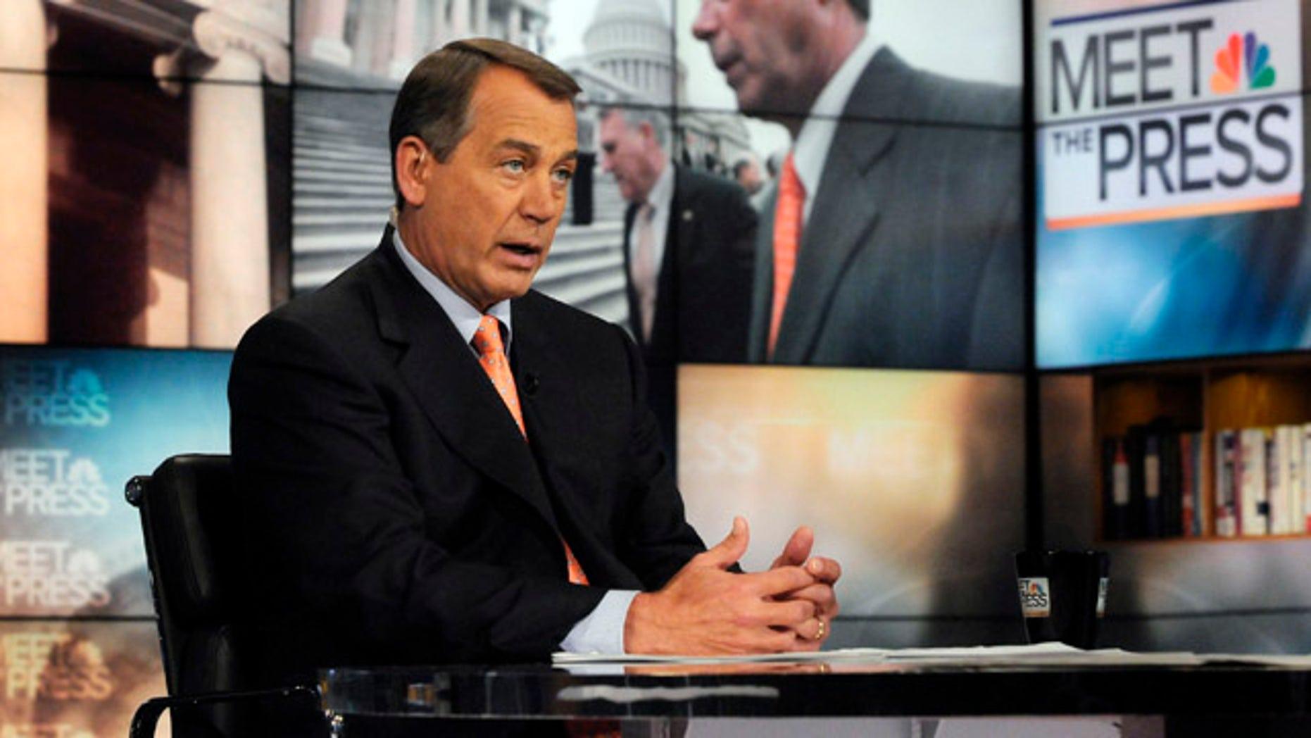 "Feb. 13, 2011: House Speaker Rep. John Boehner, R-Ohio, on NBC's ""Meet the Press"" in Washington, D.C."