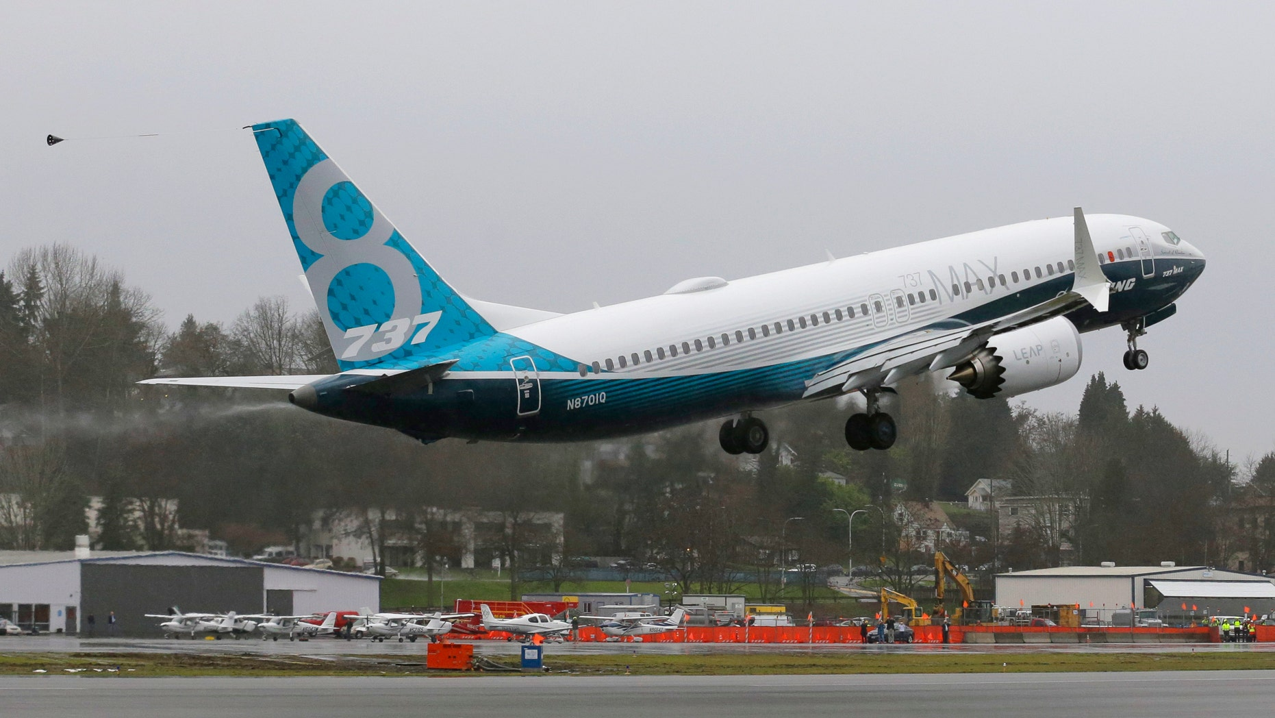 A Boeing 737 MAX airplane takes off on its first test flight, Friday, Jan. 29, 2016, in Renton, Wash. (AP Photo/Ted S. Warren)