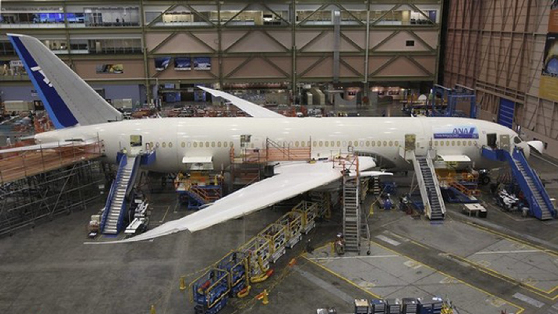 A Boeing 787 Dreamliner is seen on the production line at Boeing's Commercial Airplane manufacturing facility in Everett, Wash.