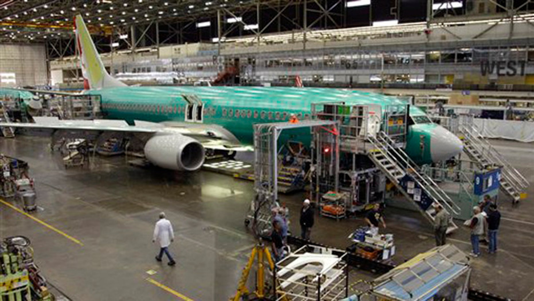 May 17, 2011: Shown here is a Boeing 737 at the Boeing Co. assembly facility in Renton, Wash.