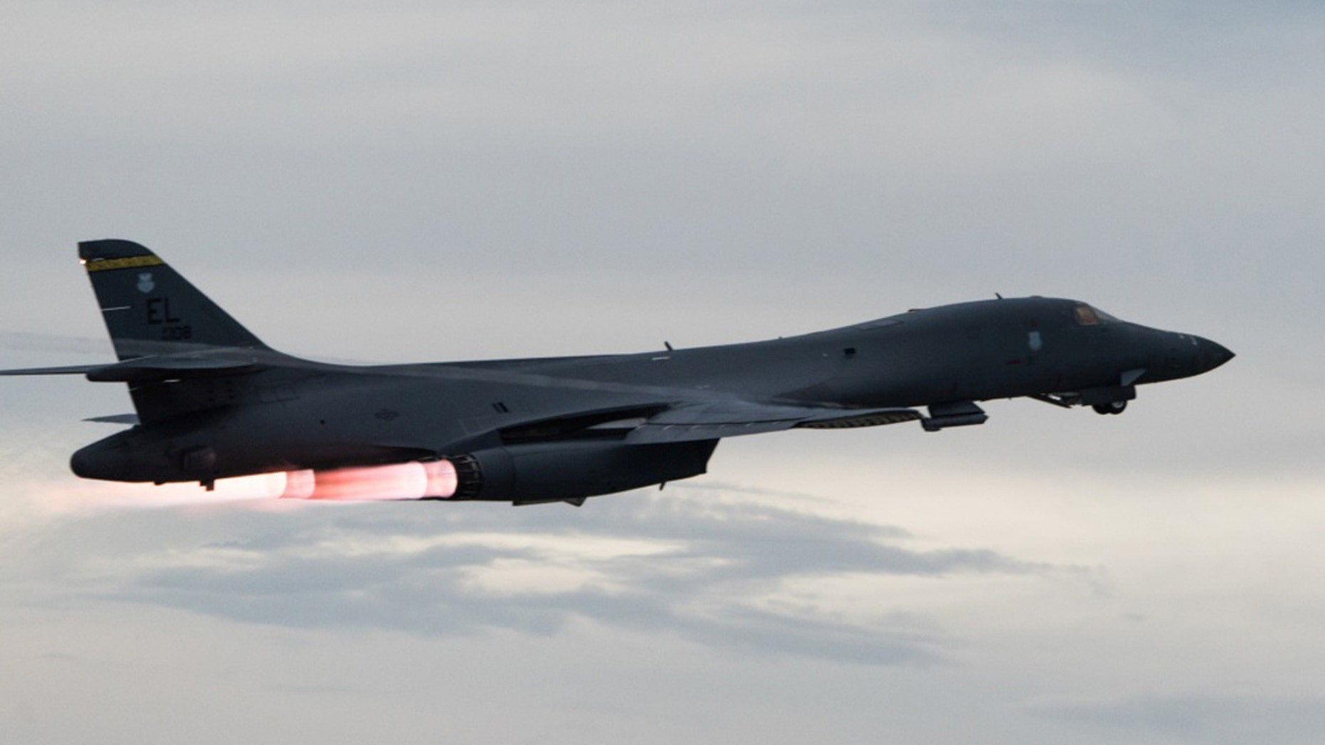 A U.S. Air Force B-1B Lancer takes-off to fly a bilateral mission with Japanese and South Korea Air Force jets in the vicinity of the Sea of Japan, from Andersen Air Force Base, Guam, October 10, 2017.