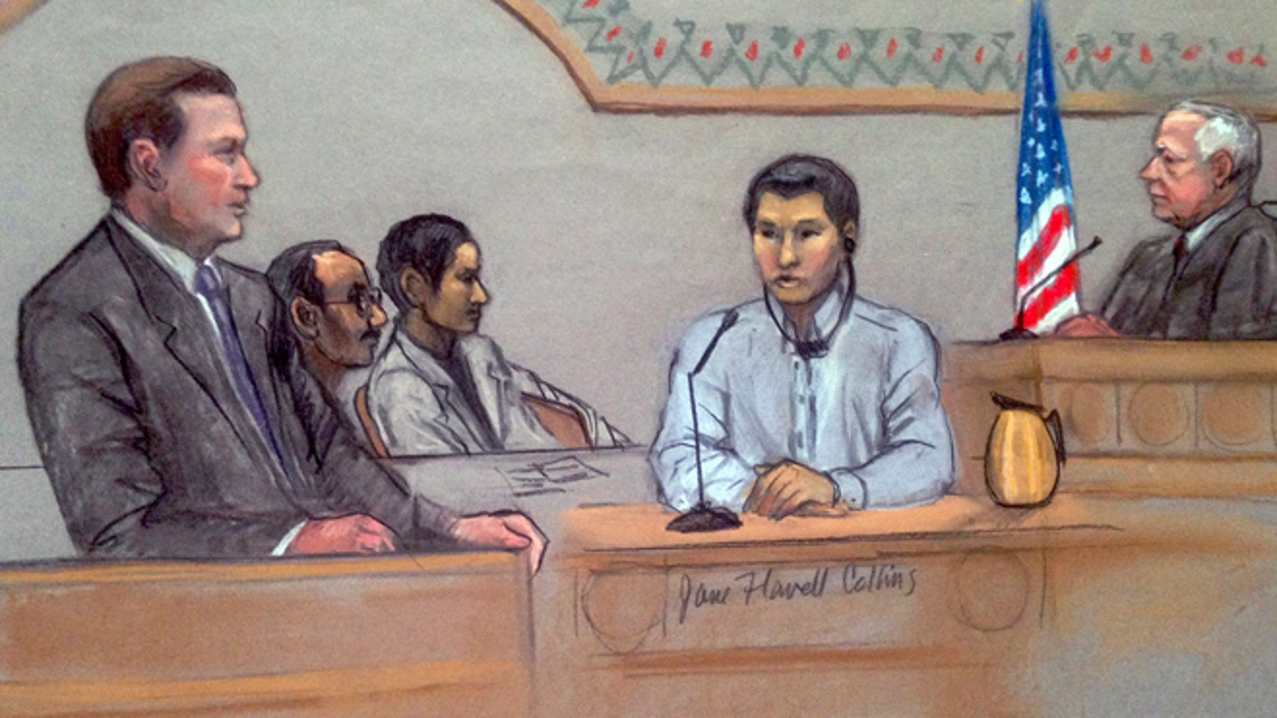 In this courtroom sketch, Dias Kadyrbayev, second from right, testifies in federal court Monday, June 2, 2014, in Boston. (AP)
