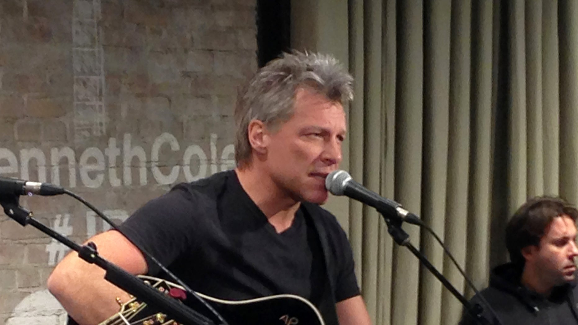 Bon Jovi performs in New York on Thursday, Feb. 12, 2015 as part an acoustic music series, Common Thread, an initiative created by the award-winning singer-songwriter, and fashion designer Kenneth Cole. (AP Photo/John Carucci)