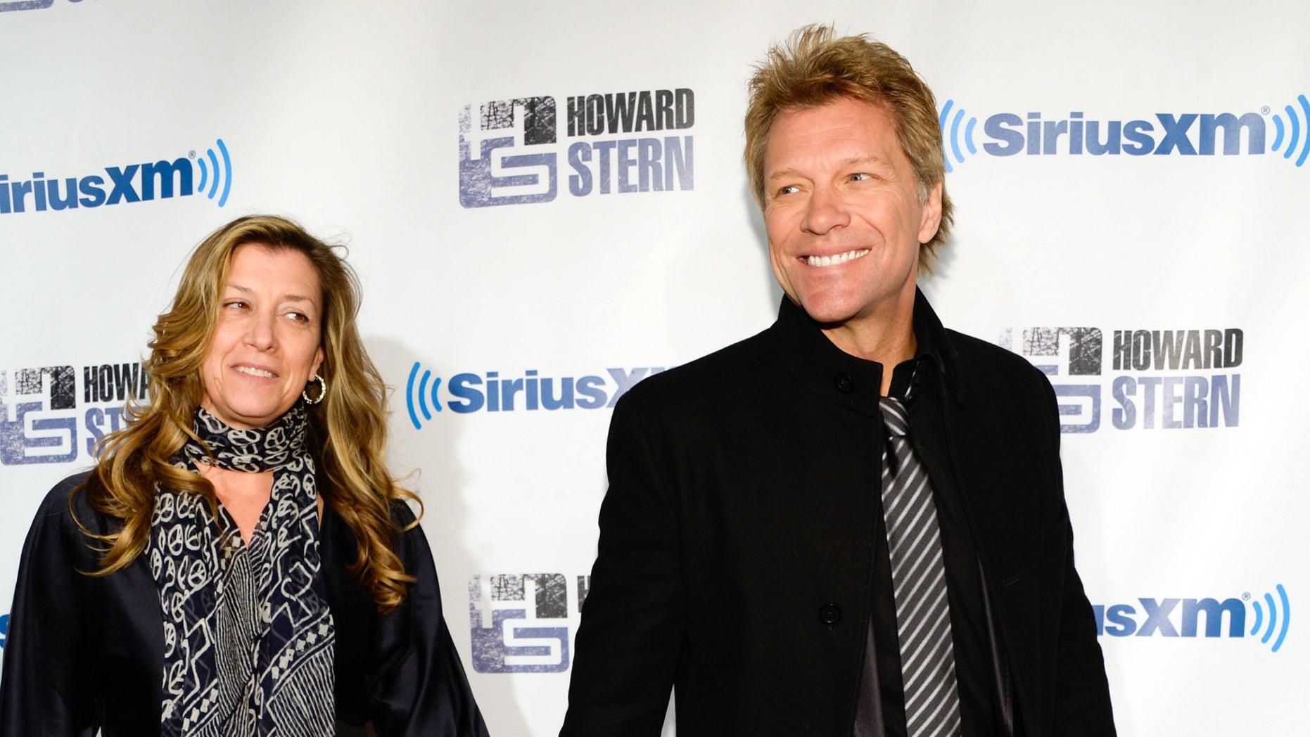 "January 31, 2014. Jon Bon Jovi and wife Dorothea attend ""Howard Stern's Birthday Bash,"" presented by SiriusXM, at the Hammerstein Ballroom in New York City."