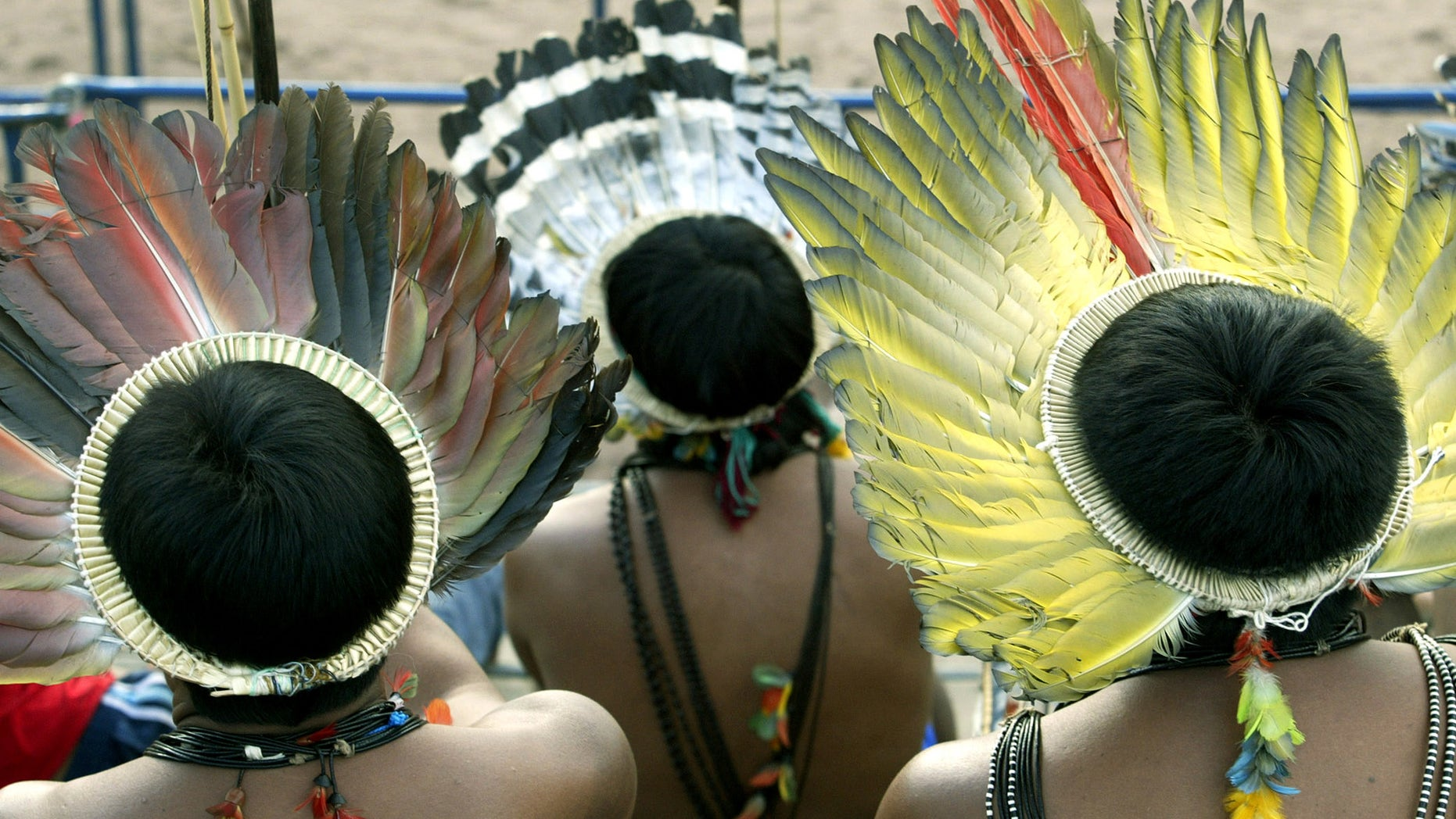 File photo. Members of the Brazil's Surui nation, wearing their traditional 'Cokar,' handmade with plume of macaw, watch the VI Indigenous Nation's Games competition in Palmas, northern Brazil, November 5, 2003.