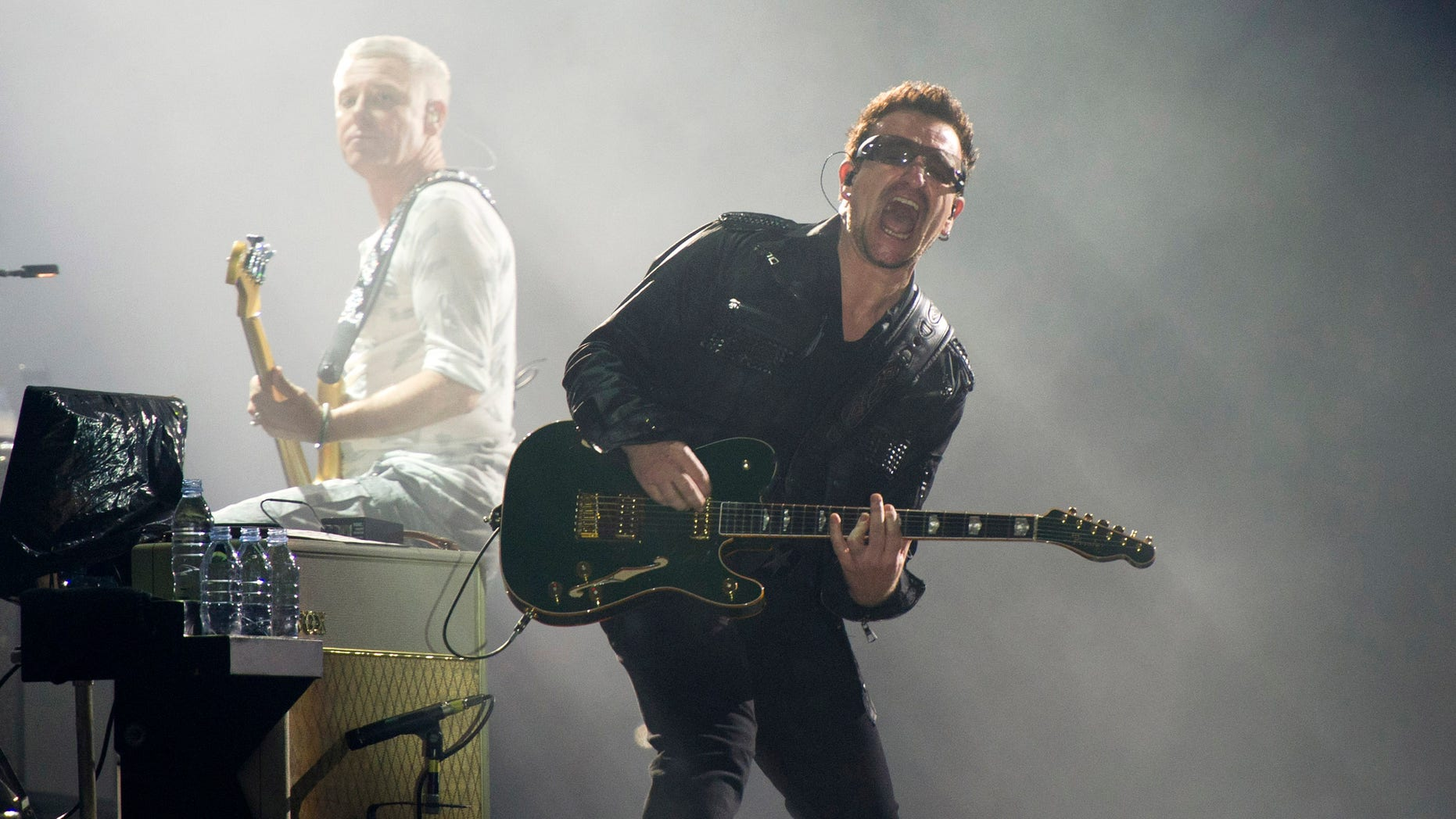 July 20, 2011. Bono, right, and Adam Clayton, from the rock group U2, perform in concert as part of U2s 360 Tour at the New Meadowlands Stadium in East Rutherford, N.J.