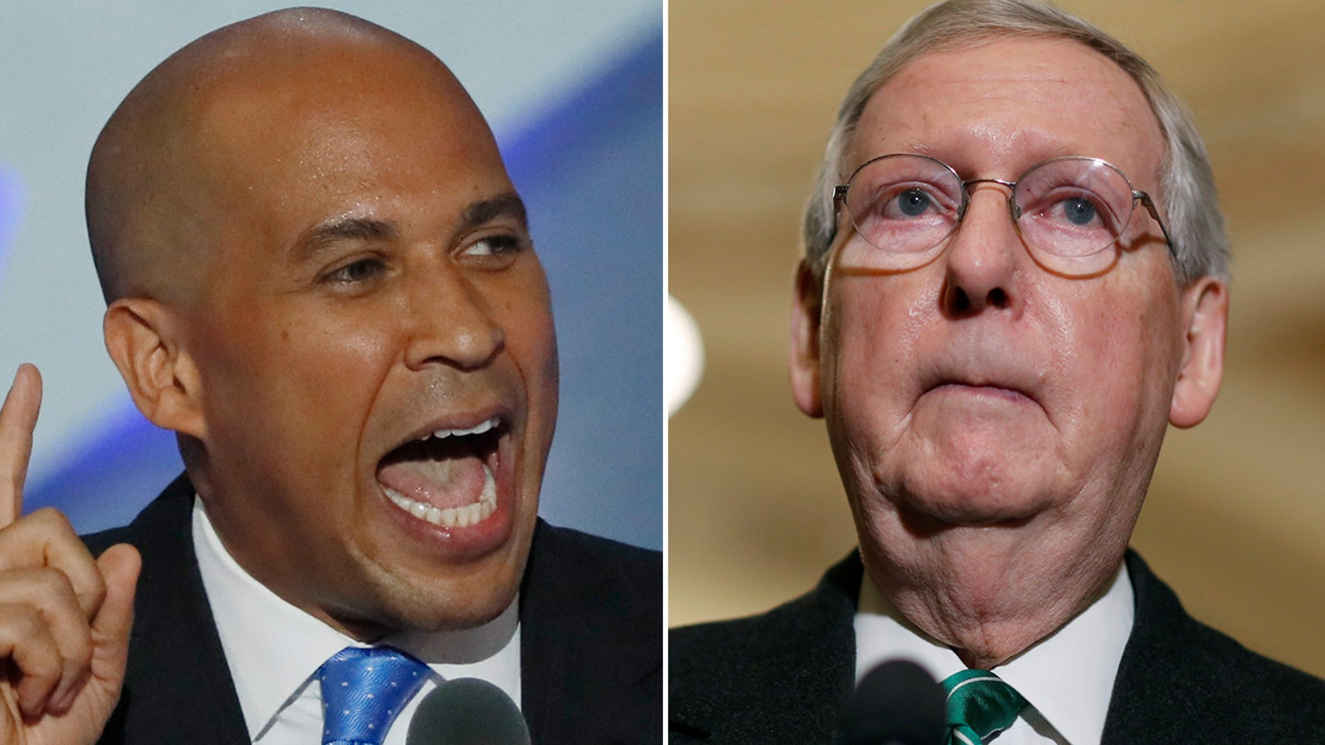 Sen. Cory Booker, D-N.J., left, remained hopeful Wednesday that Senate Majority Leader Mitch McConnell, R-Ky., would bring to the Senate floor legislation designed to protect Special Counsel Robert Mueller from being fired.
