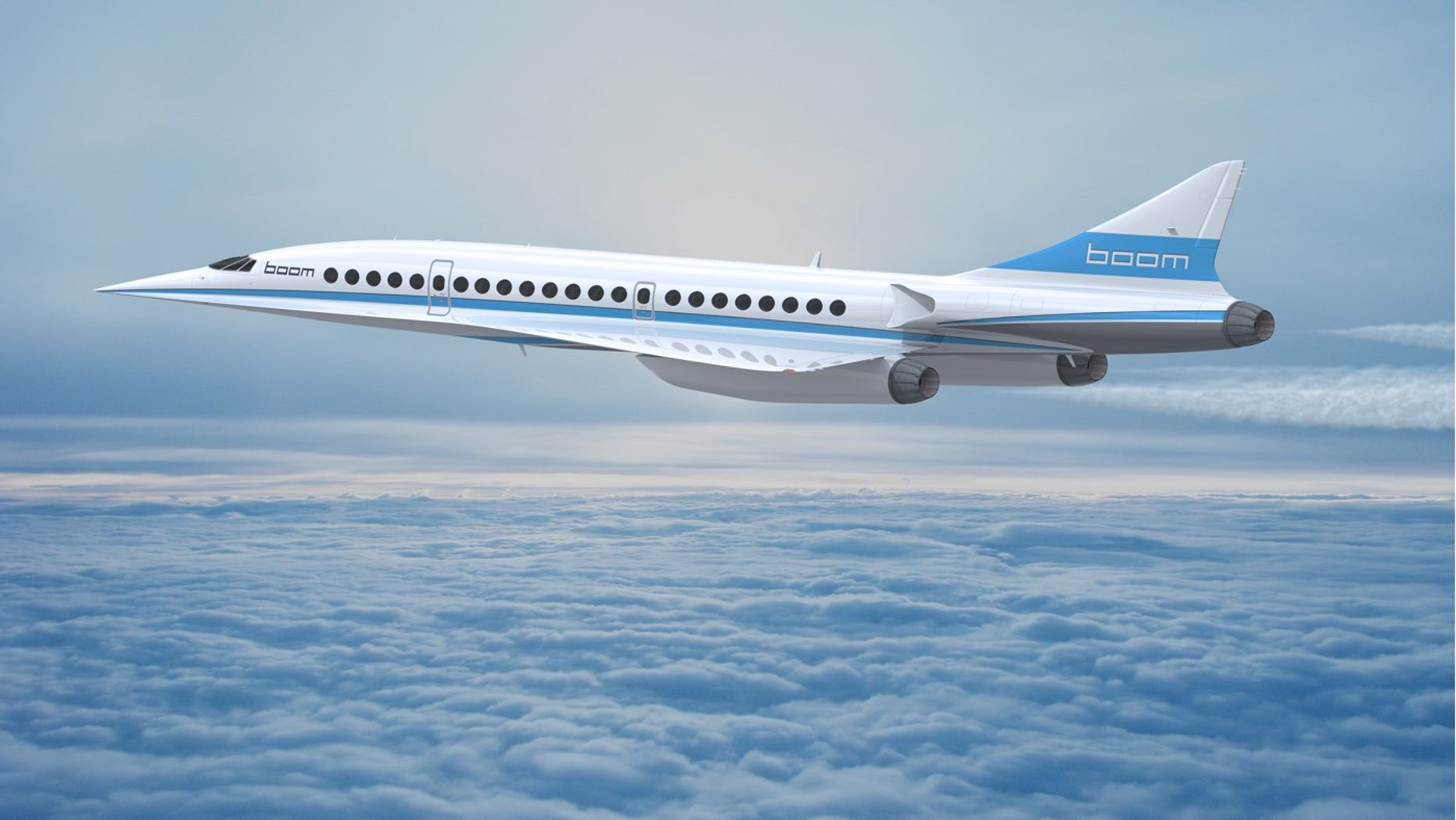 At Mach 2.2, the supersonic jet could fly between New York City and London in 3 hours and 15 minutes.