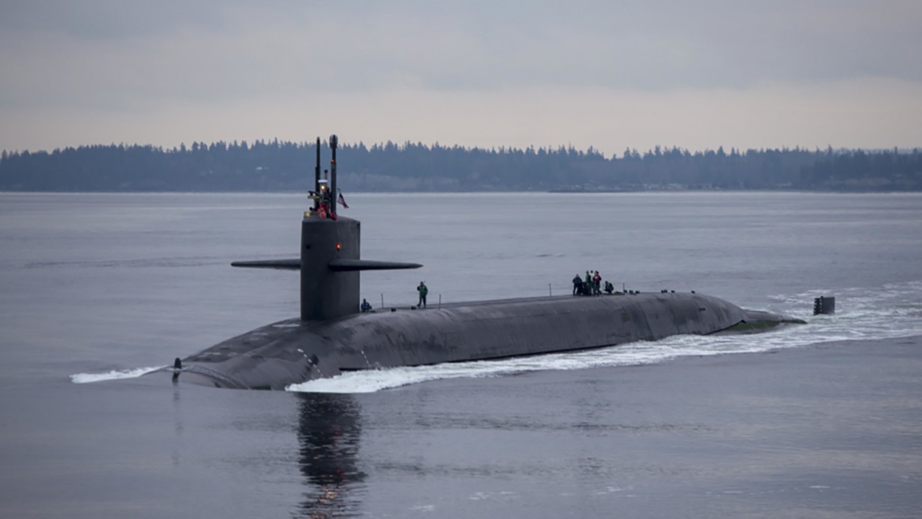 The Ohio-class ballistic-missile submarine USS Pennsylvania returns to Naval Base Kitsap-Bangor in Washington State, Dec. 27, 2017. It is one of eight ballistic-missile subs stationed at the base.
