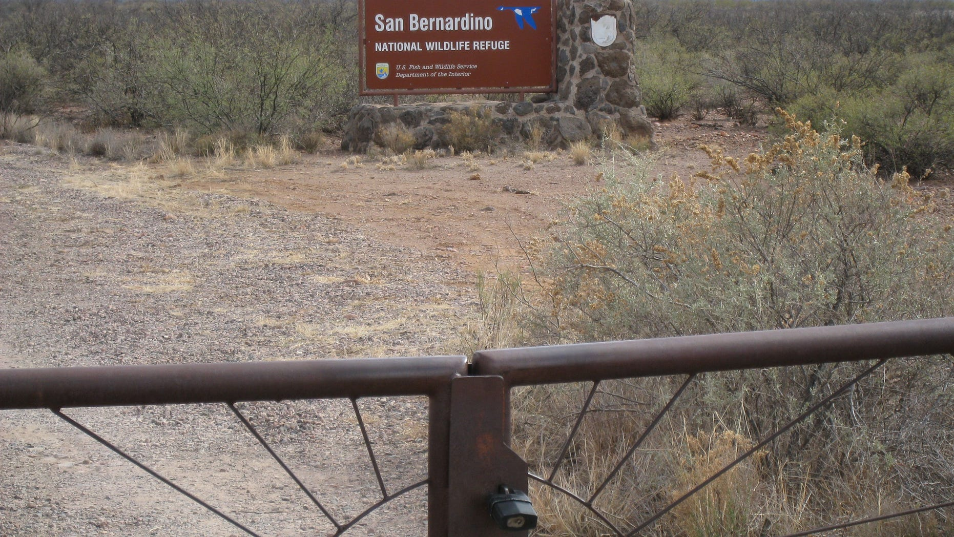 Jan. 8, 2010:  A locked gate at the San Bernardino National Wildlife Refuge, where U.S. Customs and Border Protection agents usually wait for U.S. Forest Service officials to escort them onto federal lands even though they have keys for life-threatening situations, according to the House of Representatives' Natural Resources Committee Republicans.