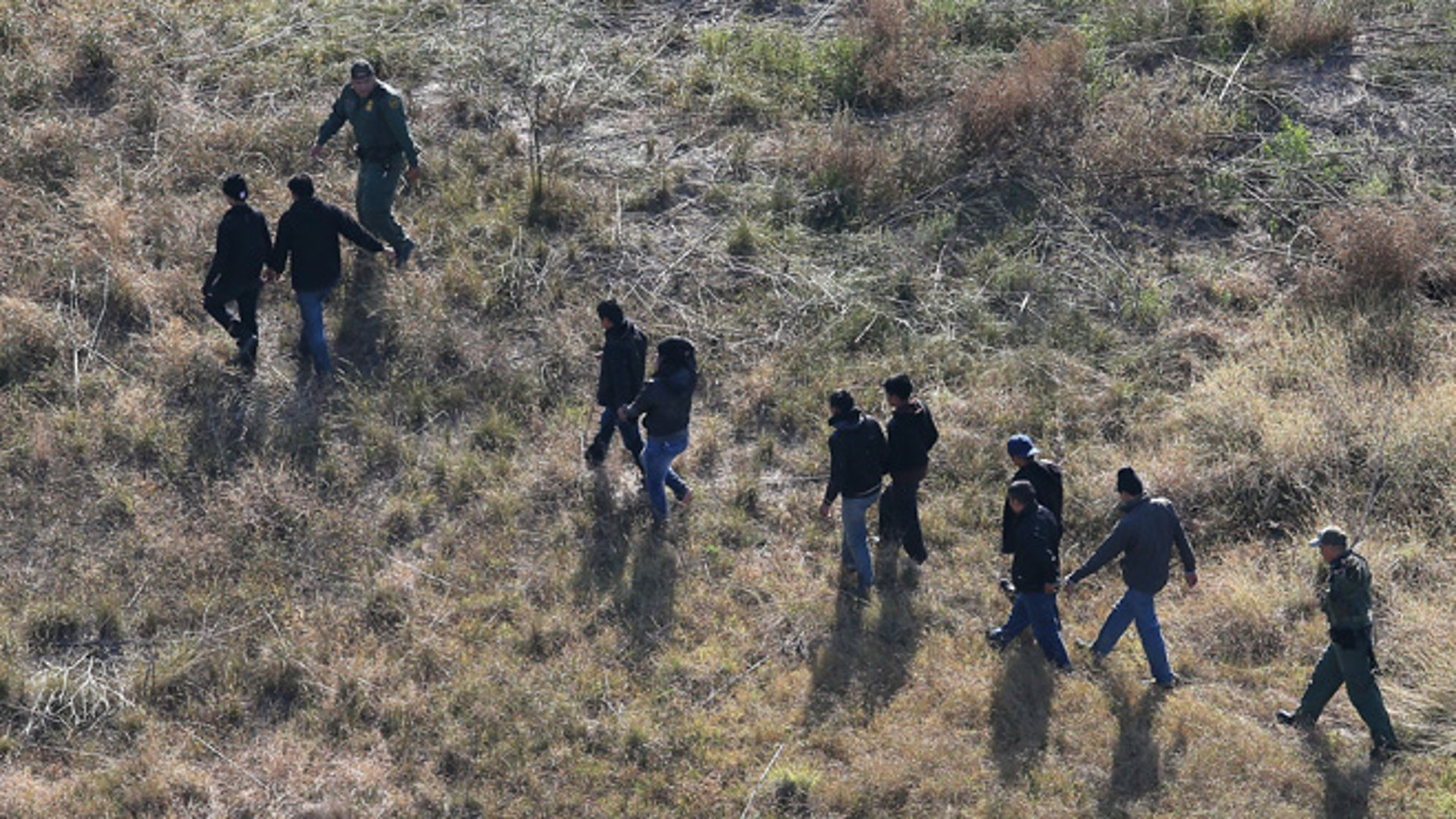 LA GRULLA, TX - DECEMBER 10:  U.S. Border Patrol agents lead undocumented immigrants out the brush after capturing them near the U.S.-Mexico border on December 10, 2015 at La Grulla, Texas. Border security remains a key issue in the U.S. Presidential campaign.  (Photo by John Moore/Getty Images)