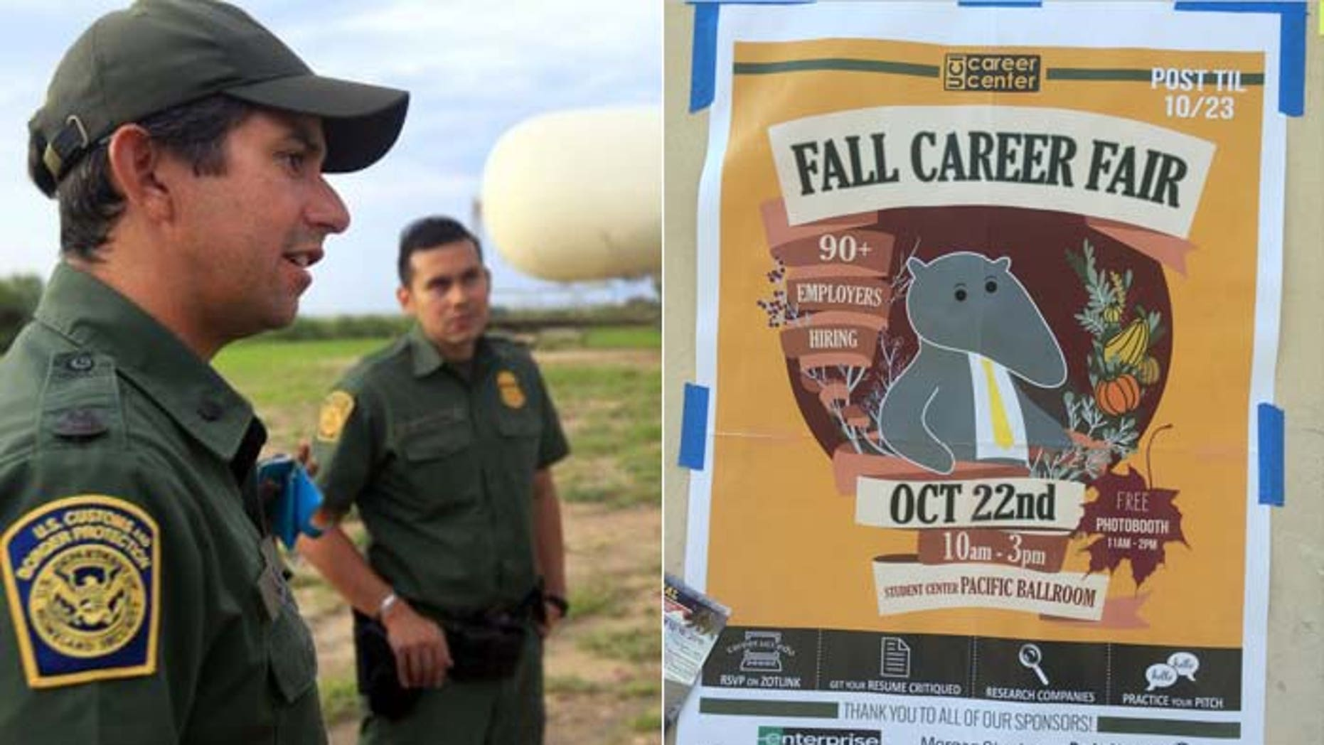 Military recruiters took part in the job fair, but the Border Patrol pulled out amid protests and fears for the safety of recruiters, according to an agency spokesman.