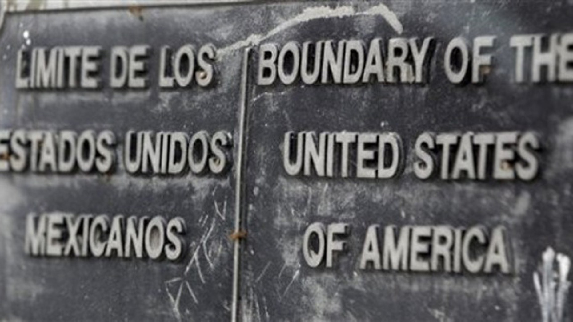A boundary sign is seen at the Pharr International Bridge, Thursday, Jan. 27, 2011, in Pharr, Texas.