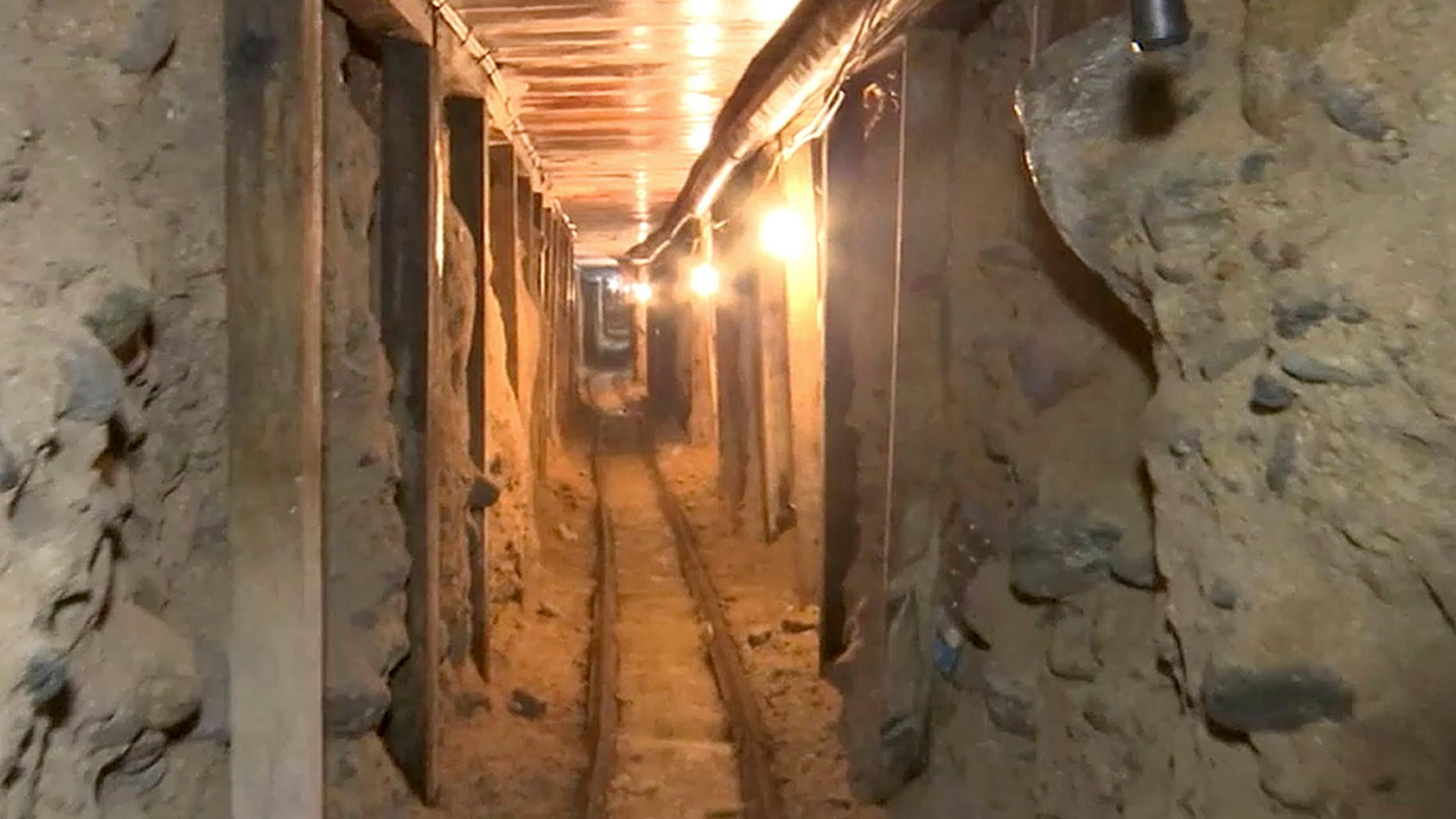 Dec. 12, 2016: This image from a video  shows one of two tunnels found in an area of warehouses in the border city of Tijuana that lead into California.