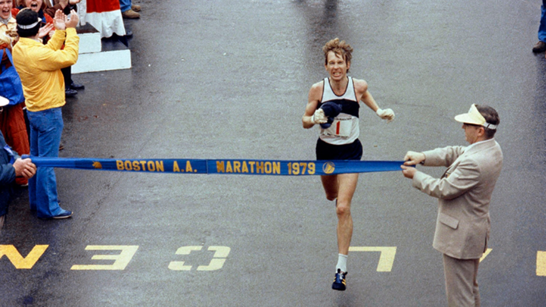 April 16, 1979. Bill Rodgers wins the Boston Marathon. It was the third of his four victories in the race.