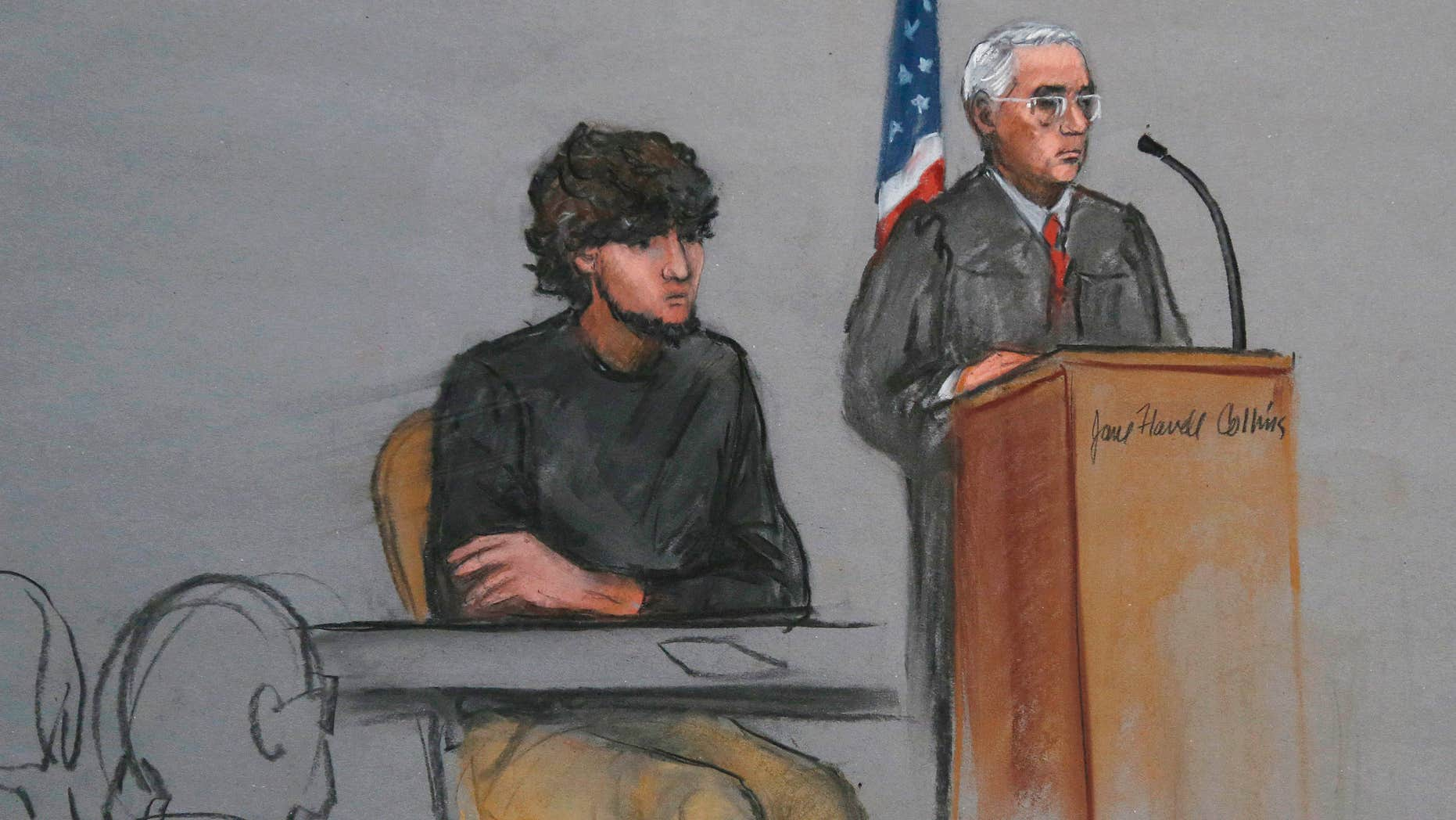 Jan. 5, 2015:  File courtroom sketch, Boston Marathon bombing suspect Dzhokhar Tsarnaev, left, is depicted beside U.S. District Judge George O'Toole Jr., right, as O'Toole addresses a pool of potential jurors in a jury assembly room at the federal courthouse, in Boston.