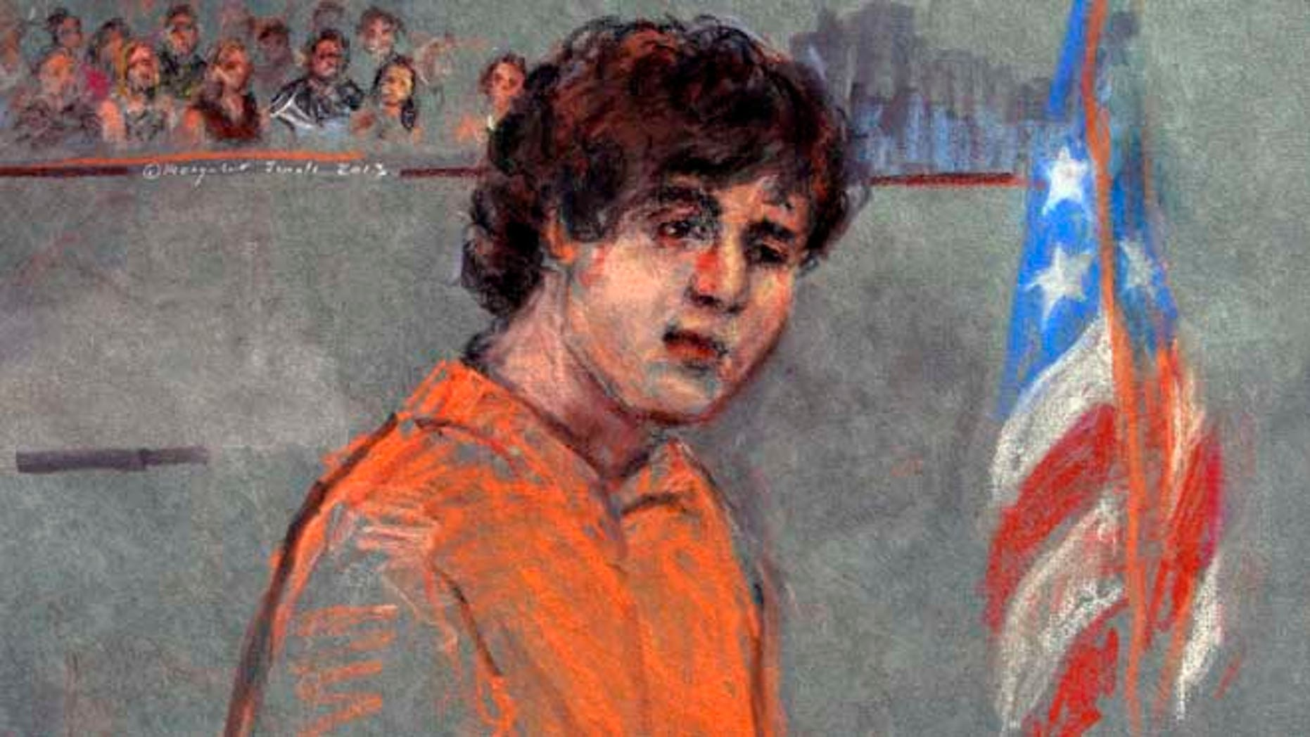 July 10, 2013: This courtroom sketch depicts Boston Marathon bombing suspect Dzhokhar Tsarnaev during arraignment in federal court in Boston.