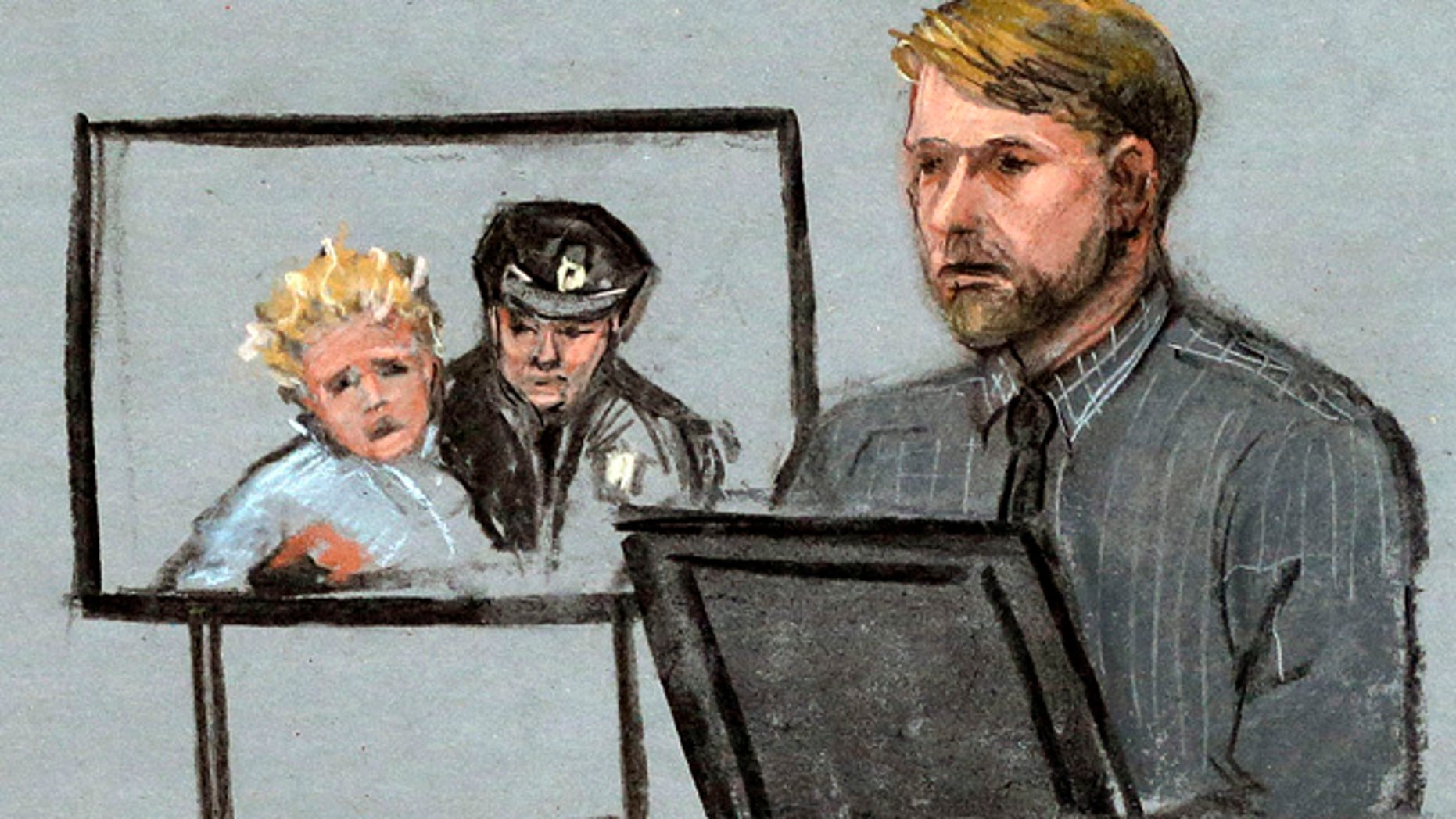 Apr. 23, 2015: In this courtroom sketch, Boston Marathon bombing survivor Steve Woolfenden, right, is depicted on the witness stand beside a photo of his injured son Leo being carried to safety, left, during the penalty phase in the trial of Boston Marathon bomber Dzhokhar Tsarnaev, (AP)