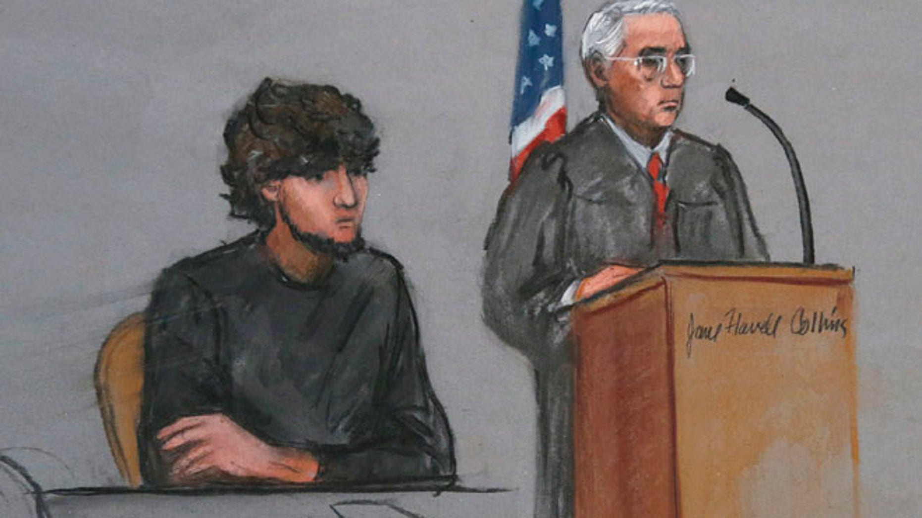 Jan. 5, 2015: In this file courtroom sketch, Boston Marathon bombing suspect Dzhokhar Tsarnaev, left, is depicted beside U.S. District Judge George O'Toole Jr., right, as O'Toole addresses a pool of potential jurors in a jury assembly room at the federal courthouse, in Boston.(AP)