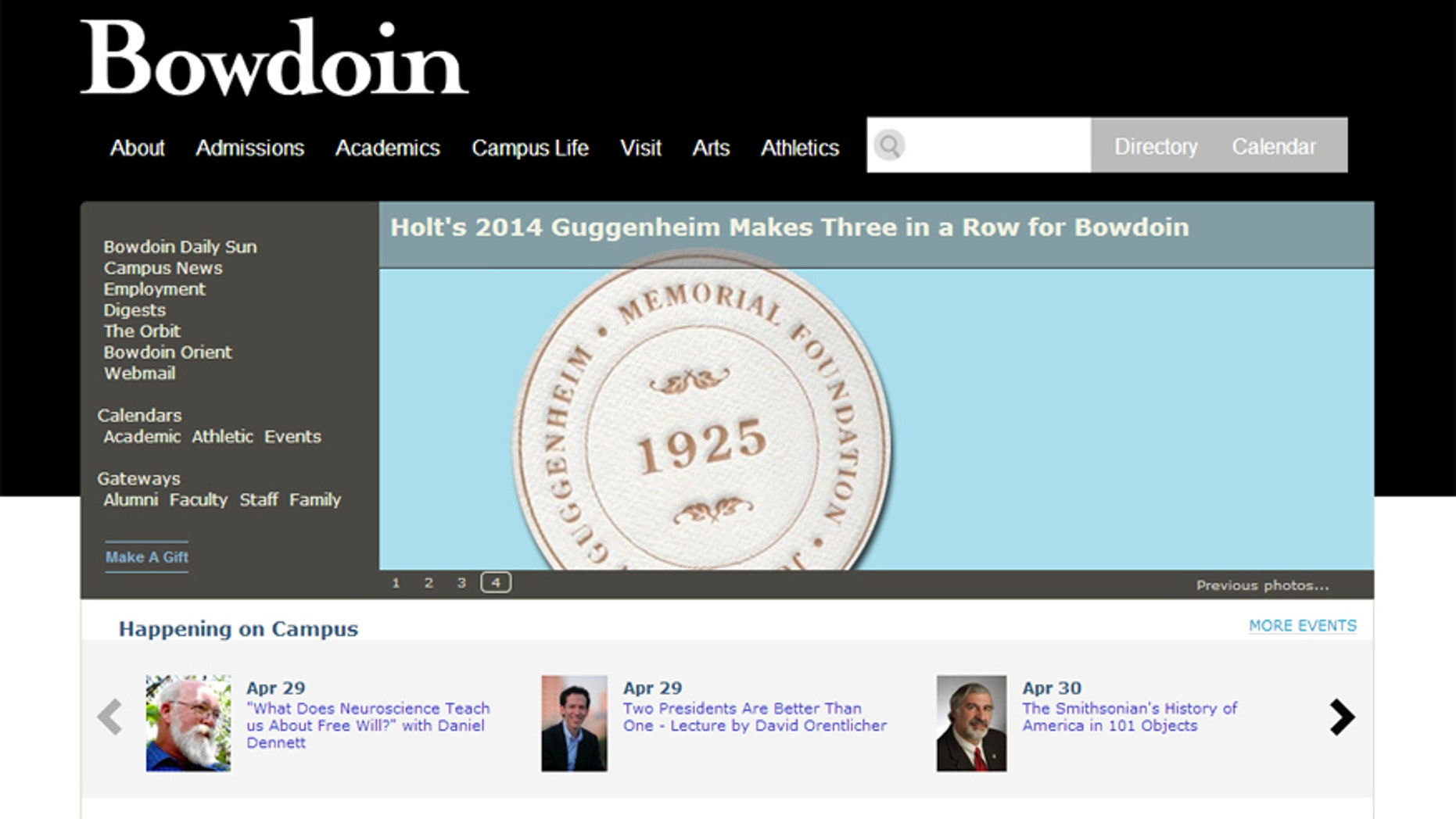 A screenshot of the Bowdoin College website.