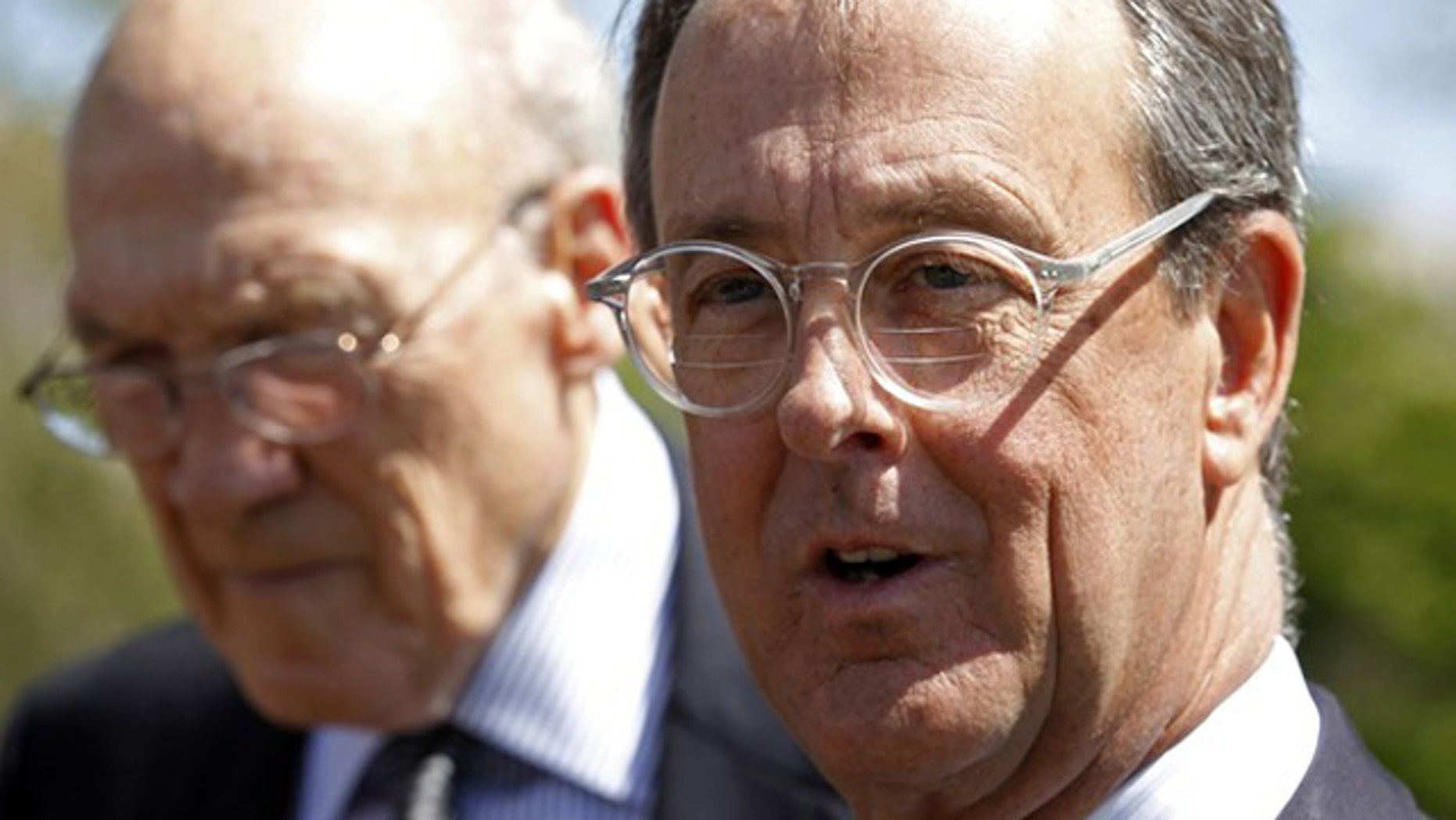 FILE: April 14, 2011: Fiscal commission co-chairs Alan Simpson, left, and Erskine Bowles speak to reporters in Washington.
