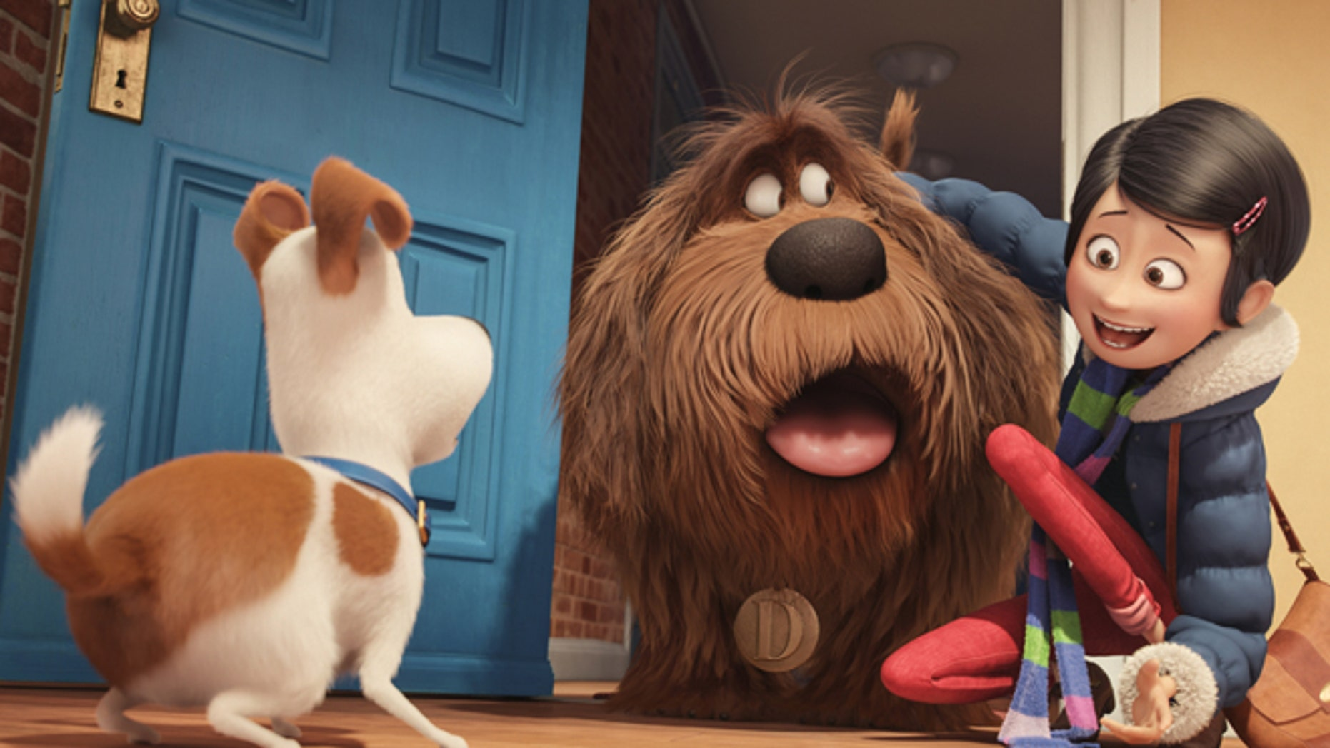 "In this image released by Universal Pictures, from left, characters Max, voiced by Louis C.K., Duke, voiced by Eric Stonestreet, and Katie, voiced by Ellie Kemper, appear in a scene from, ""The Secret Lives of Pets."" (Illumination Entertainment and Universal Pictures via AP)"